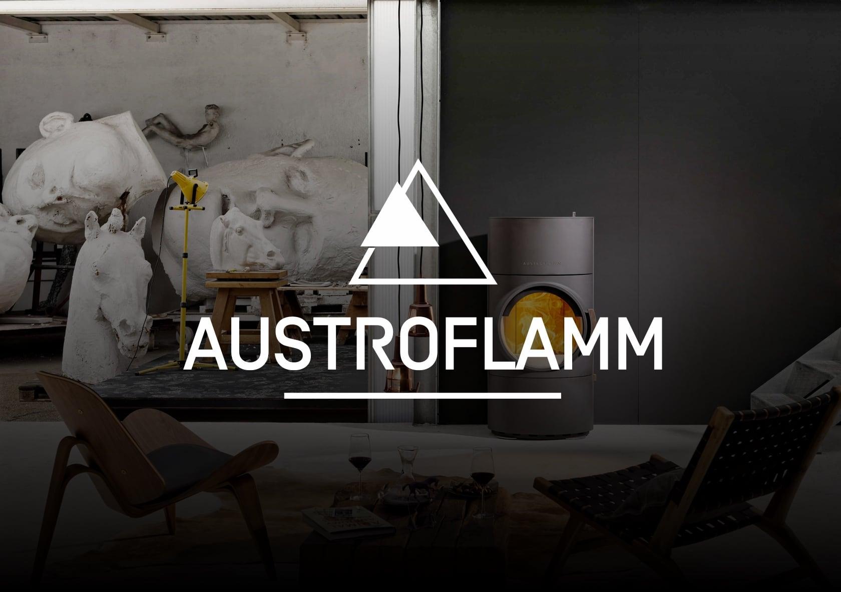 Bild eines Ofens mit dem Logo Austroflamm