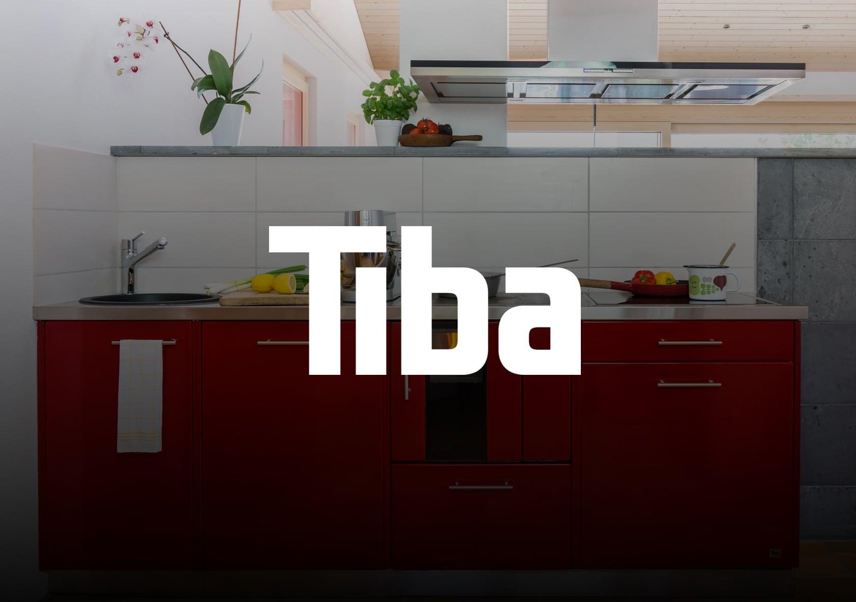 Bild einer Küche mit Herd mit dem Tiba Logo davor