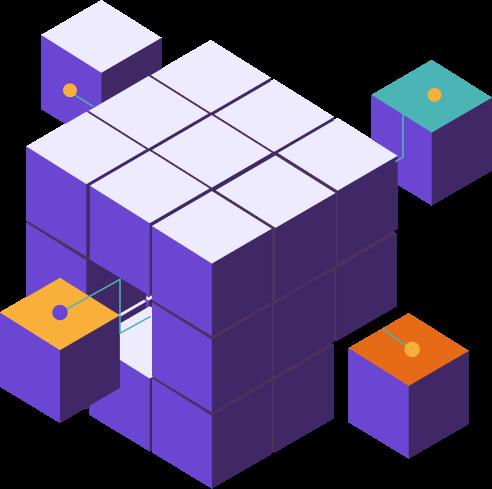 Rubik's cube violet avec de certains petit cubes qui ressortent