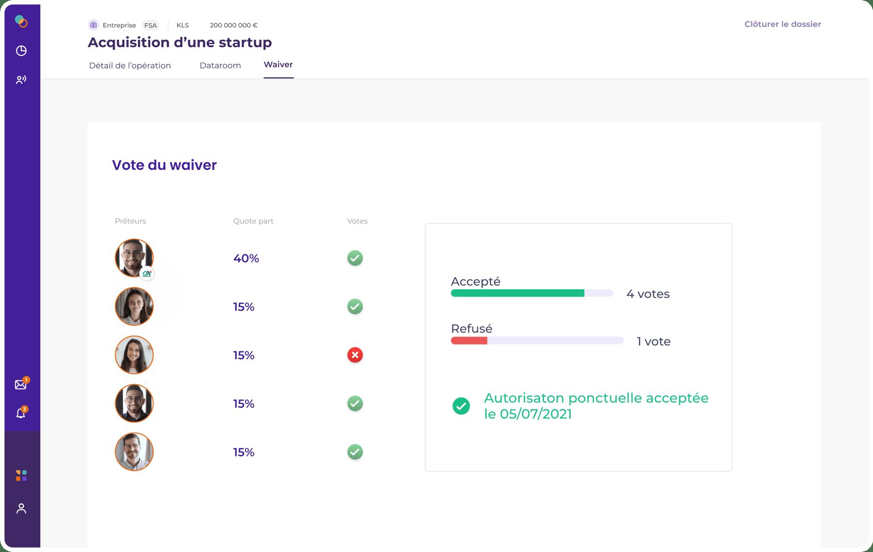 capture de la plateforme KLS représentant la vote du waiver