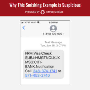 Identifying a Smishing Example as Unsafe - 1