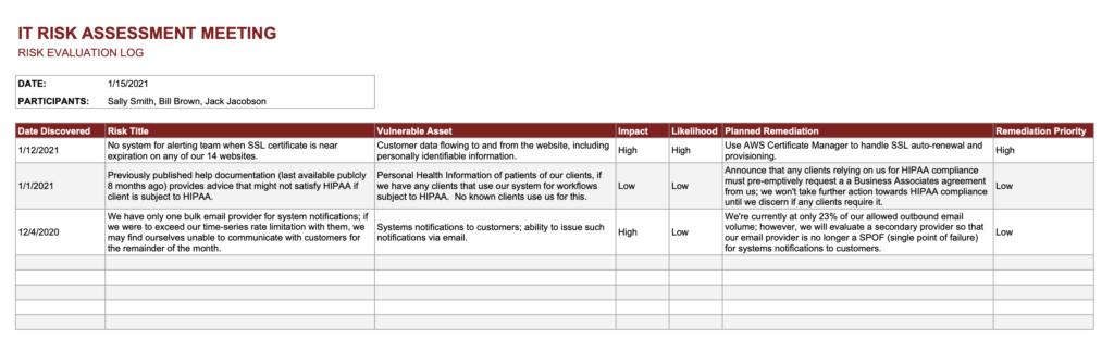 IT Risk Assessment Template - Risk Evaluation Log