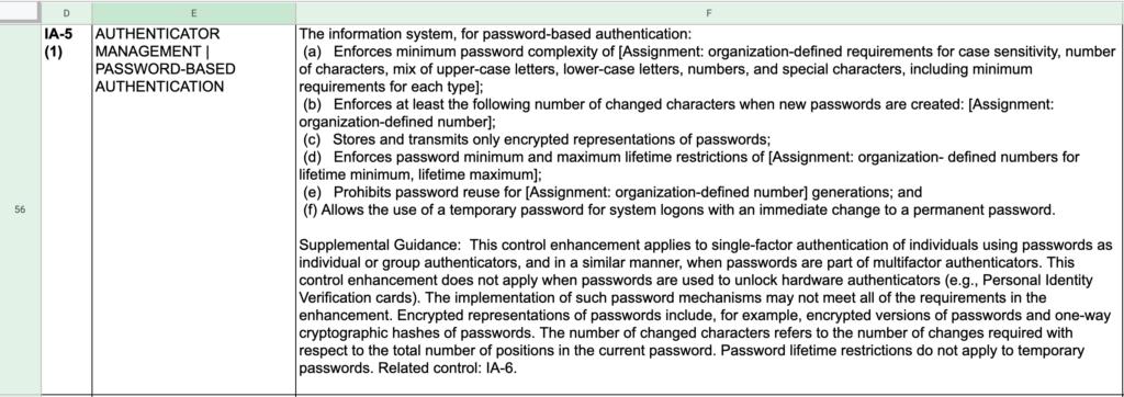 FedRAMP Password Controls Example