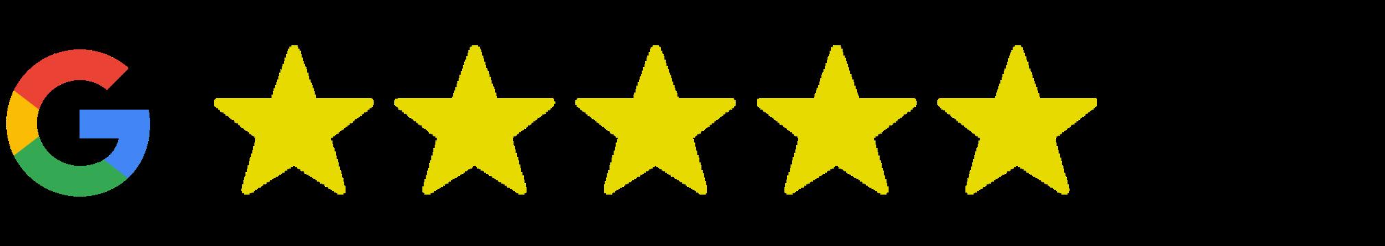 5 stars on Google Reviews