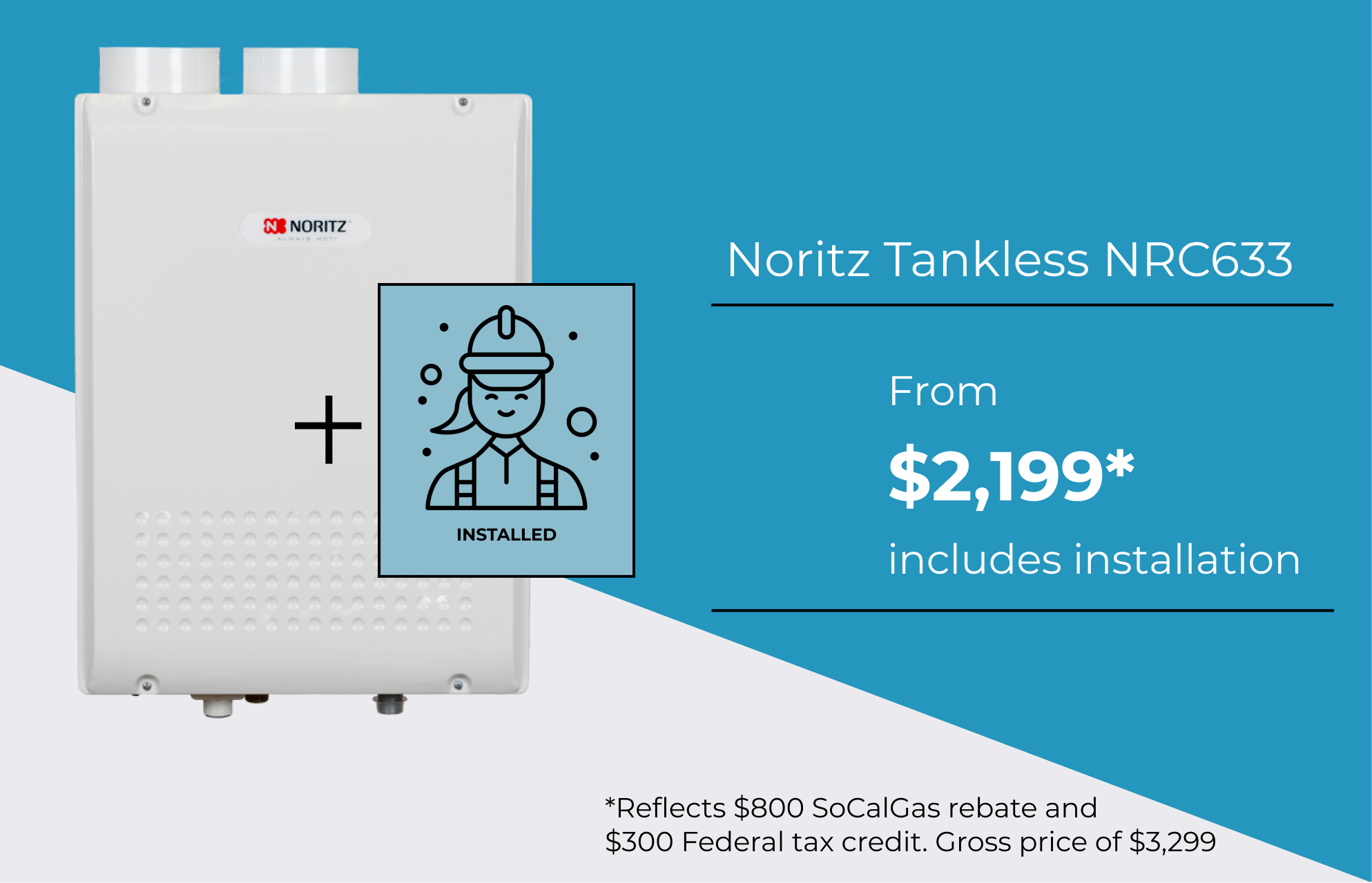 New hot water heater installations starting at $1,599