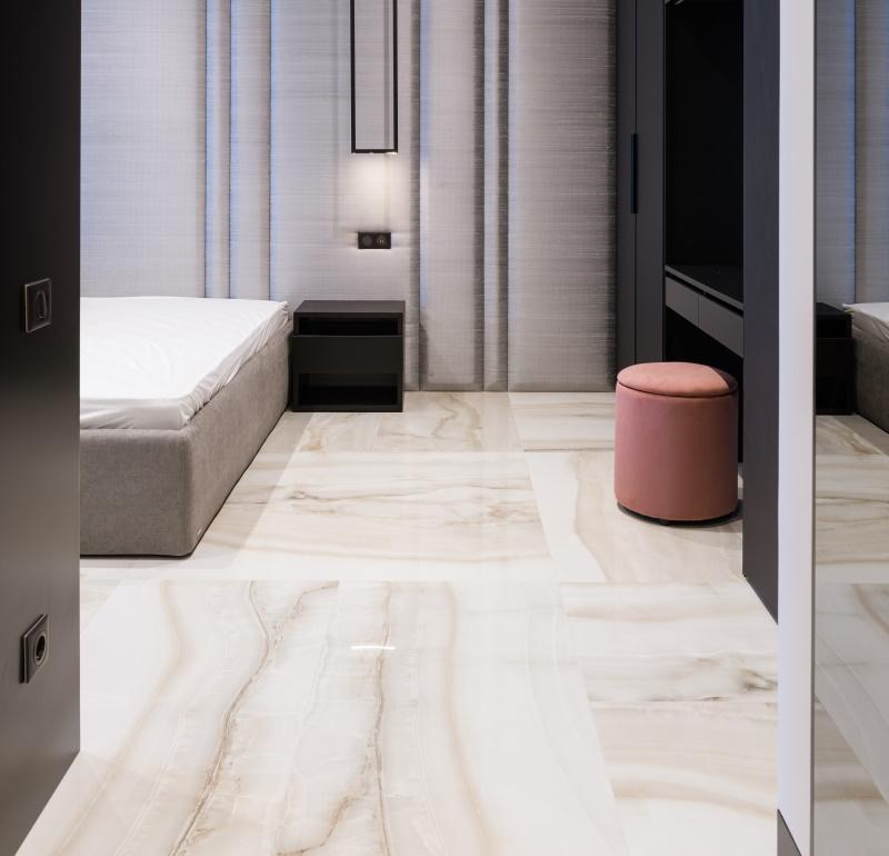 Tile in bedroom.