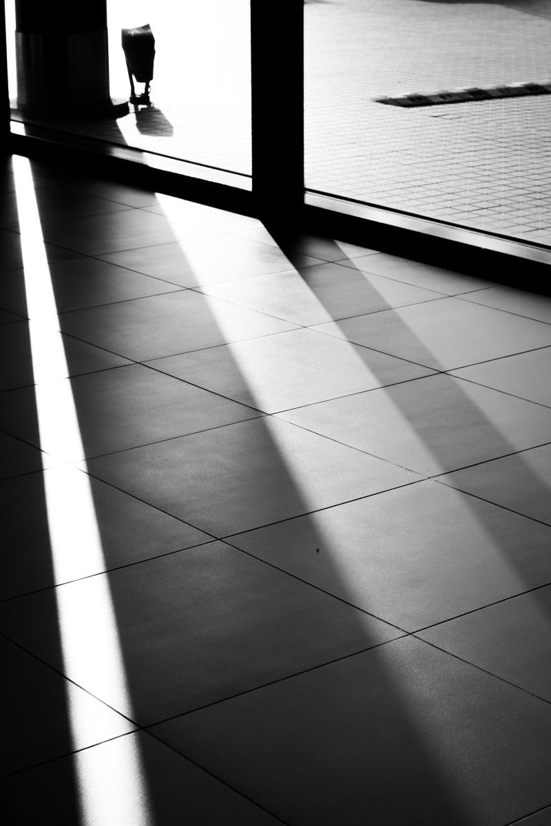 Tile in a dark room.