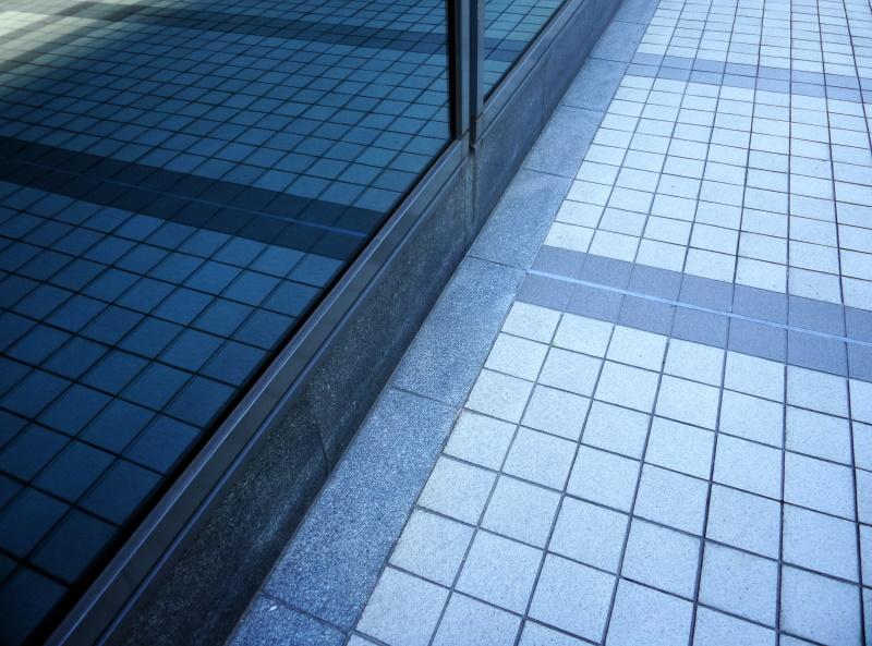 Blue tile outside.