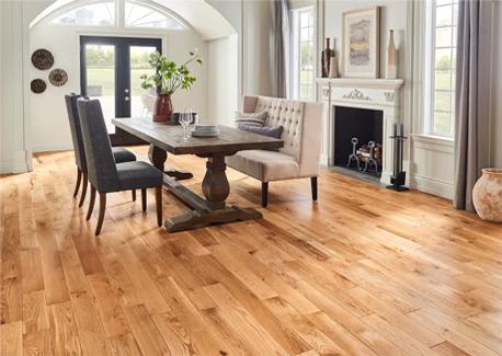 Hardwood floor in a dining room.