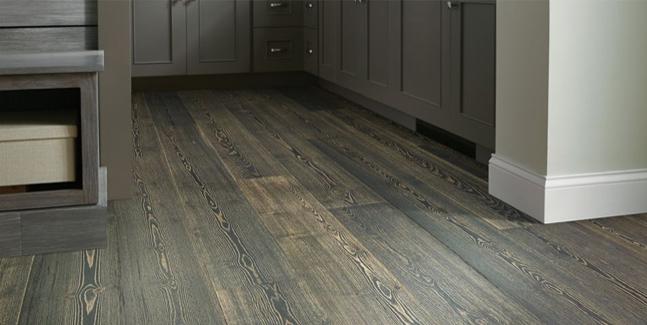 Hardwood floor in a kitchen.