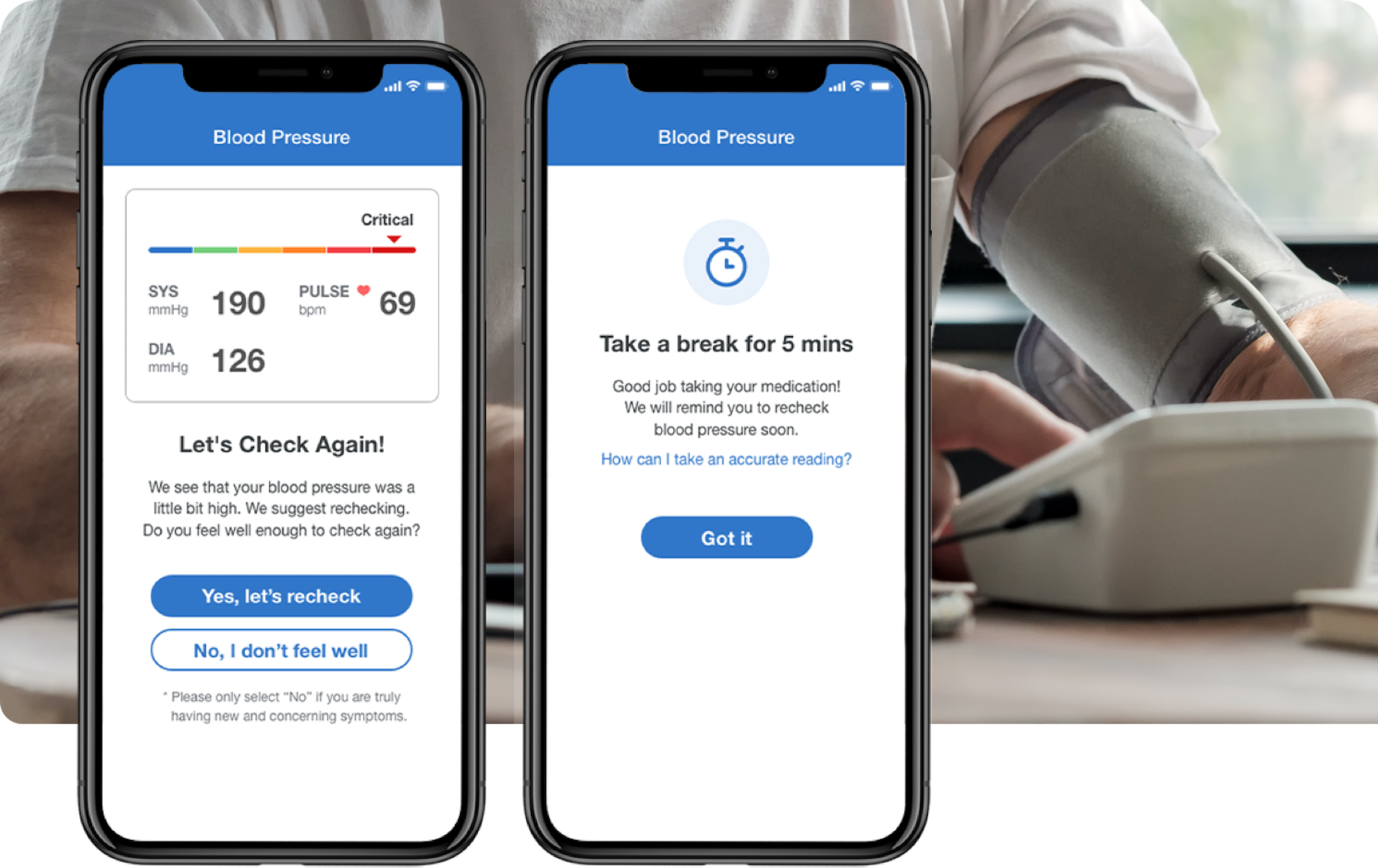 Hypertension triage on the Unified Care App