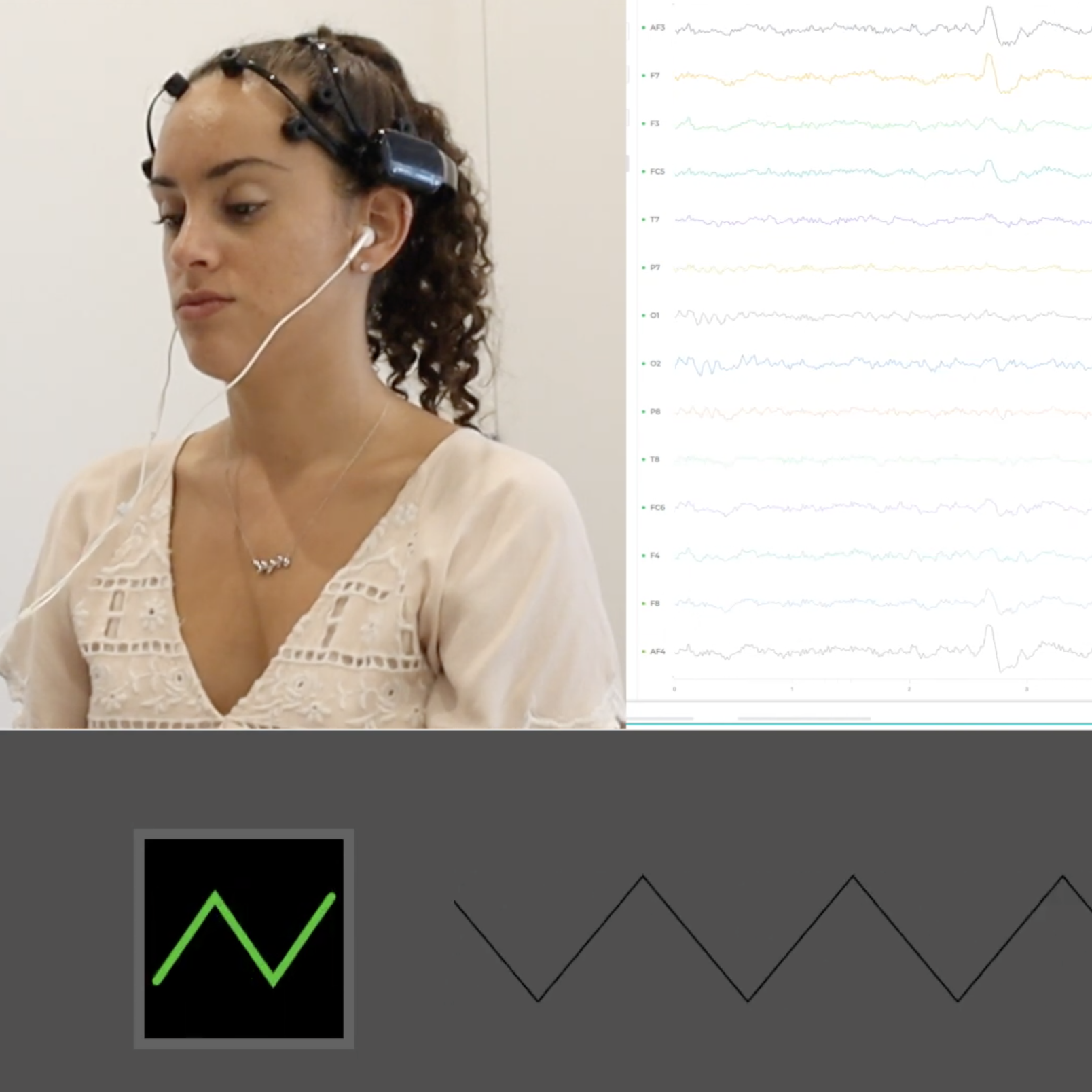 Girl wearing EMOTIV brain-computer interface with live-streamed EEG data