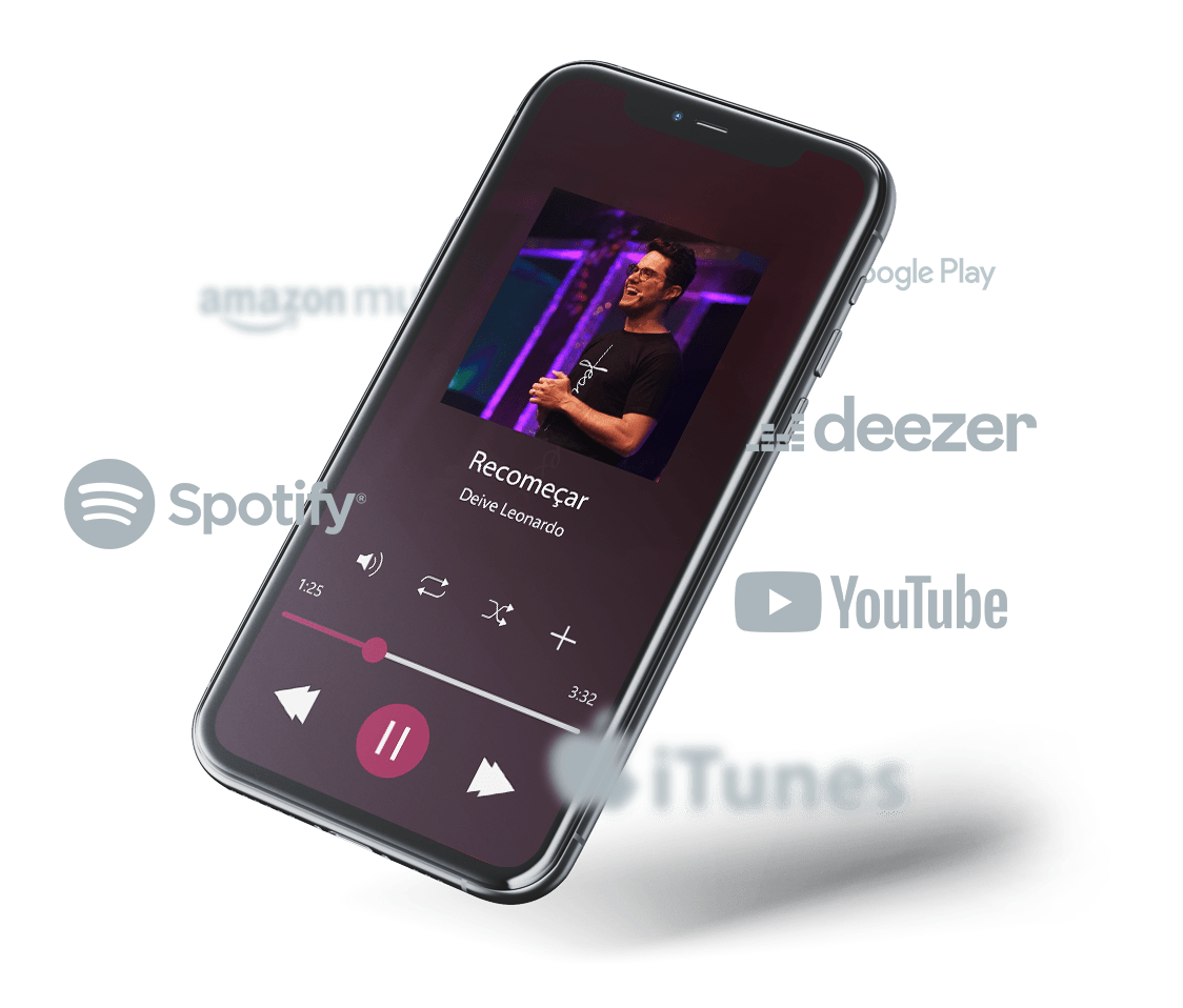 iPhone com as plataformas que trabalhamos: Deezer, Spotify, Youtube, iTunes, Amazon Music, Tidal