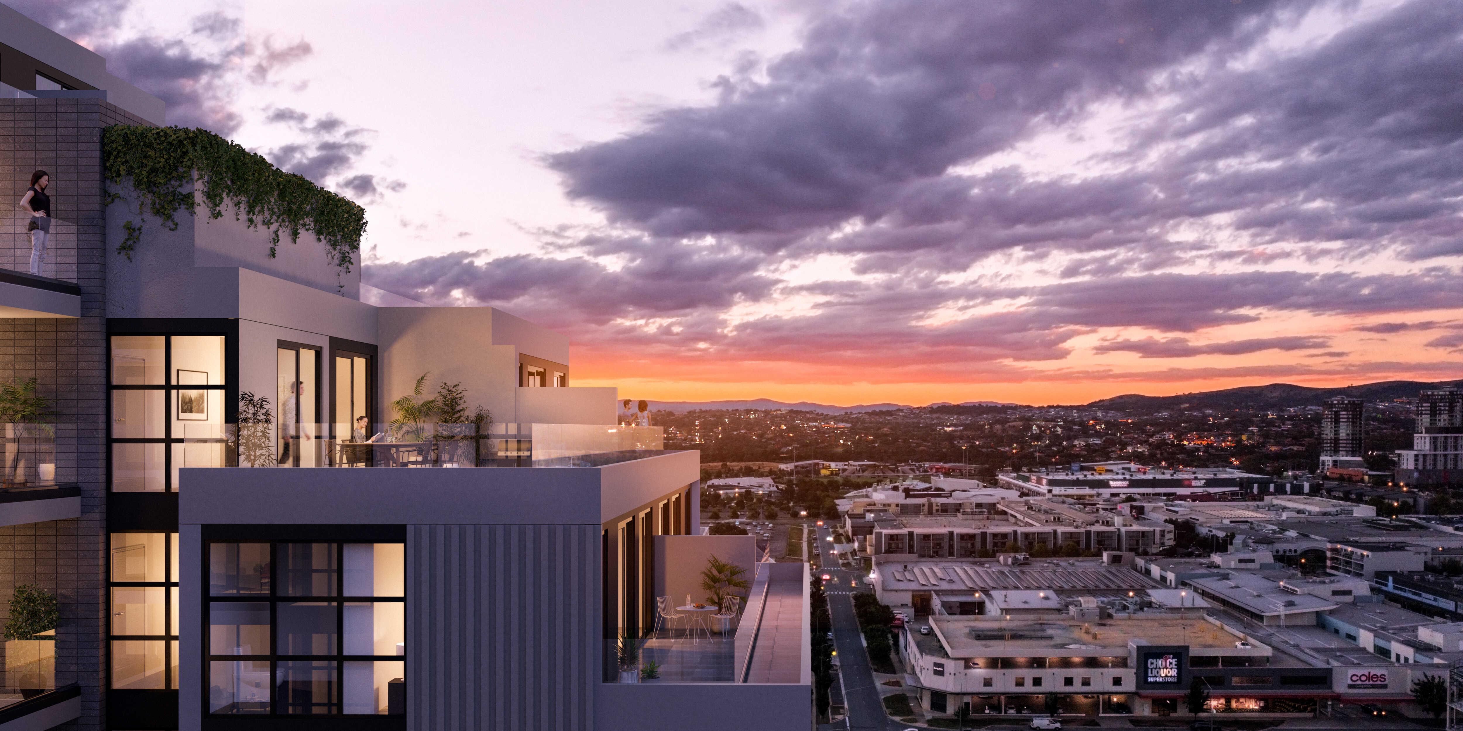 Residential Property Exterior Render - Sunset