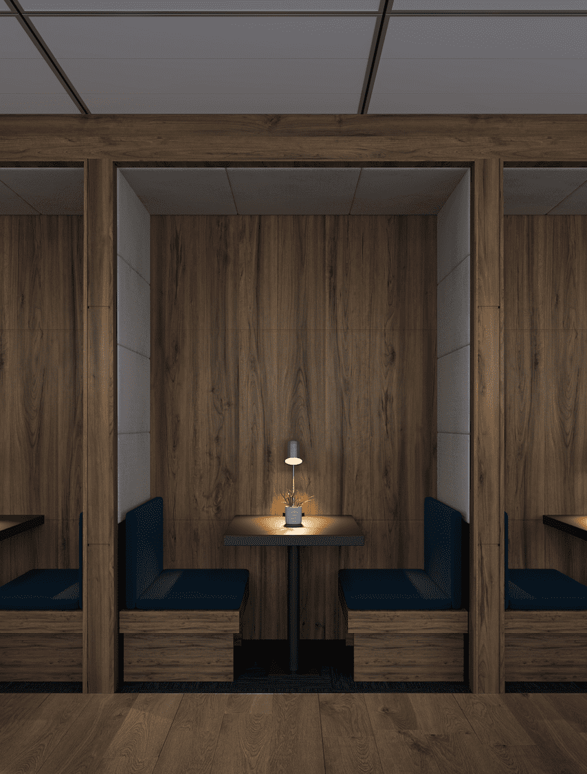 Commercial Interior Render - Meeting Booths
