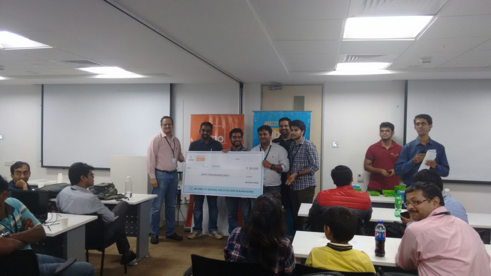 Maddy & team winning the hackathon for the first prototype of Ambee prototype