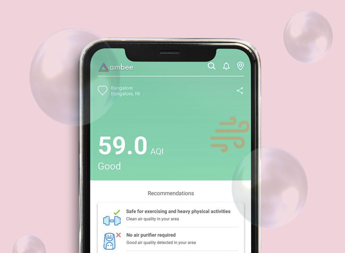 Mobile phone displaying real-time AQI Data in Bangalore