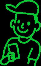 Zeichnung eines Jungen mit einem Smartphone
