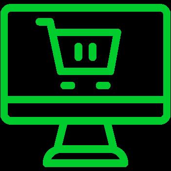 Computer mit Einkaufswagen Grafik