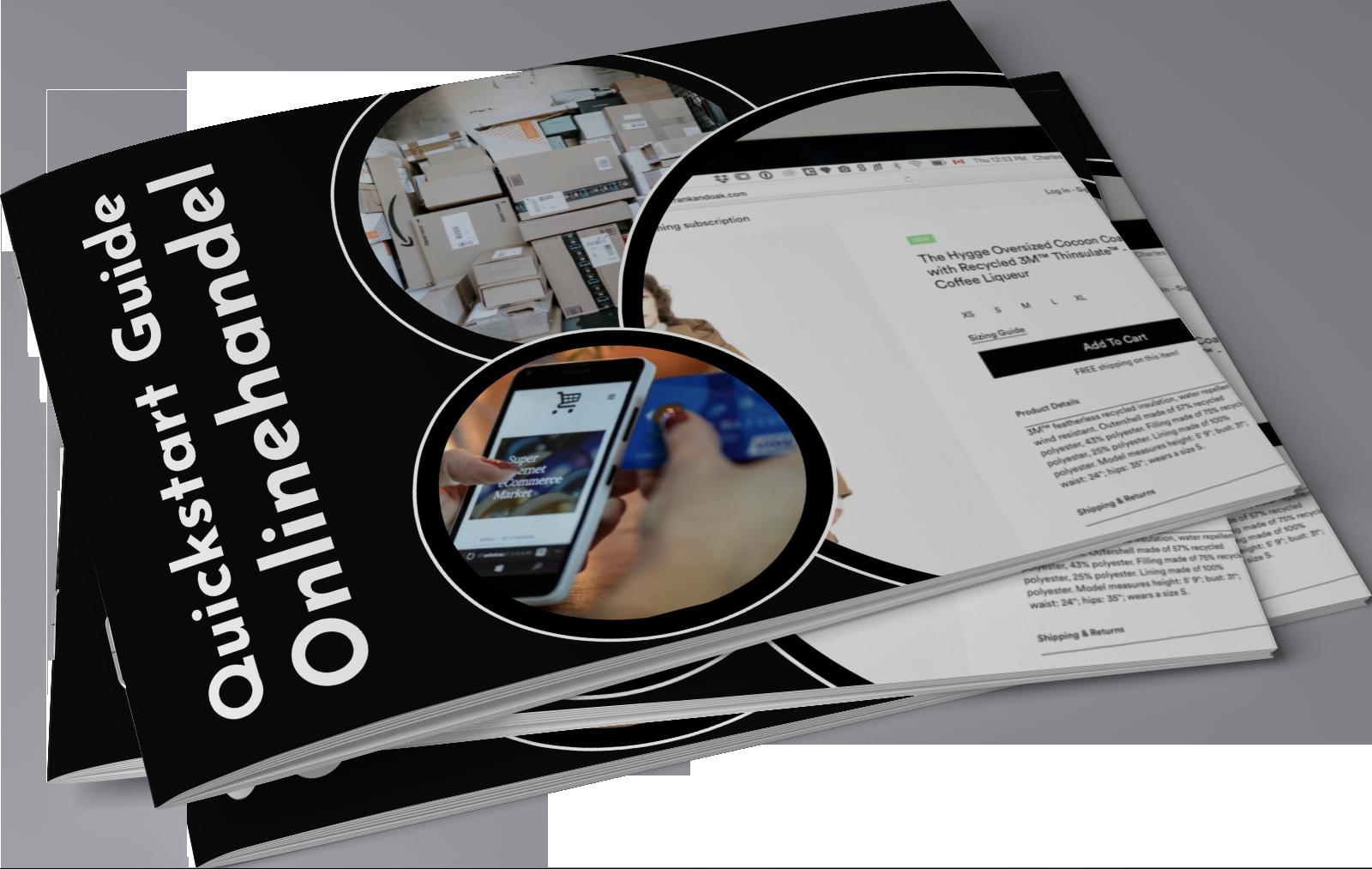 Stapel von Broschüren des Onlinehandel Guides