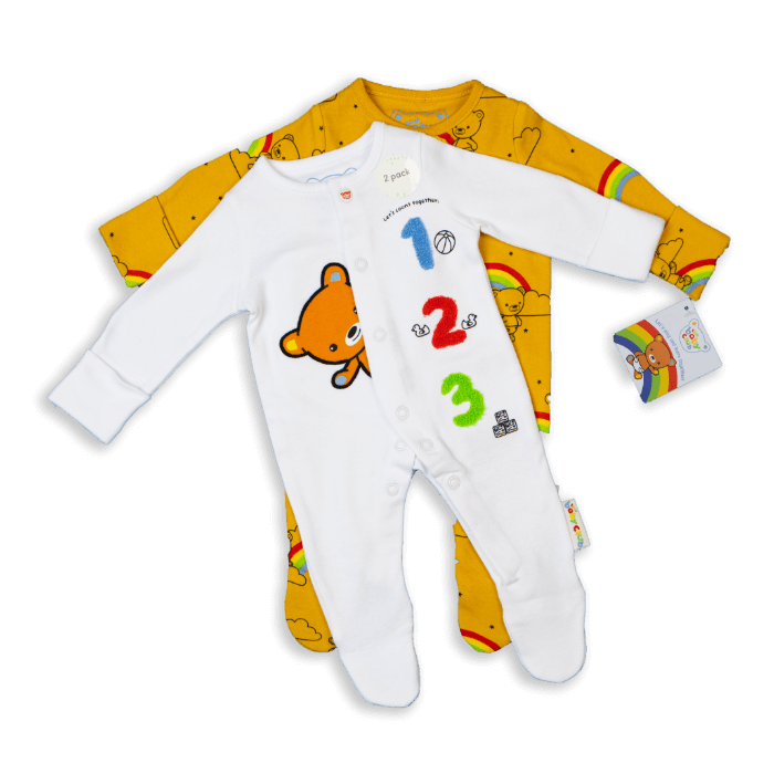The Baby Club babywear 2 pack of sleepsuits