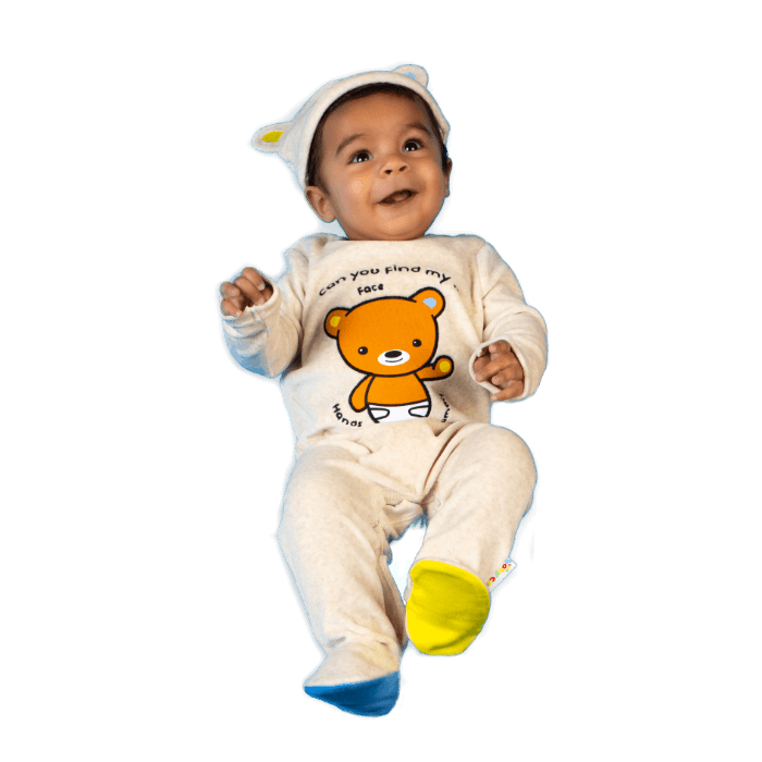 The Baby Club babywear velour sleep suit and hat