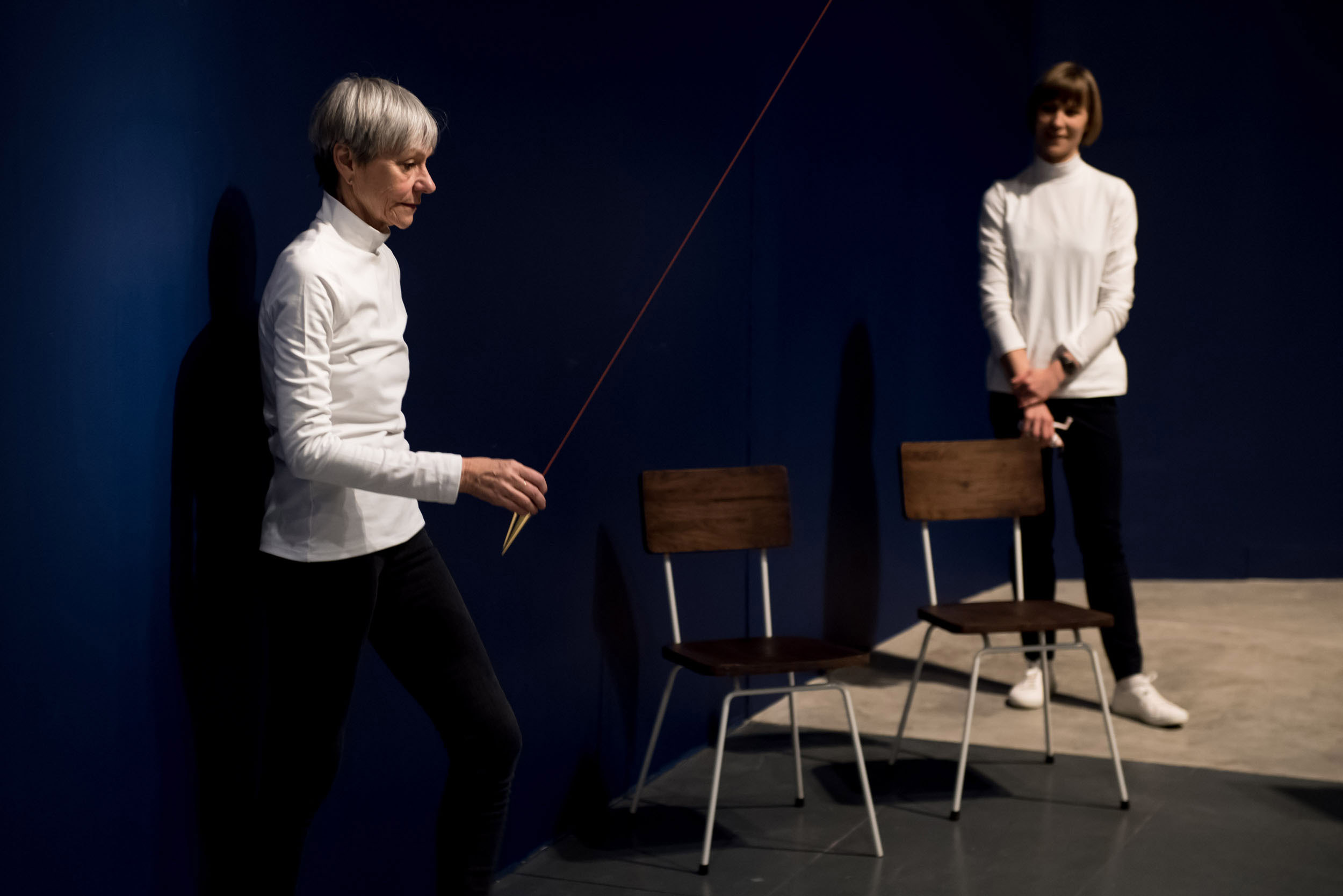 Siobhan Davis and Helka Kaski performing Datum at the Barbican Curve Gallery