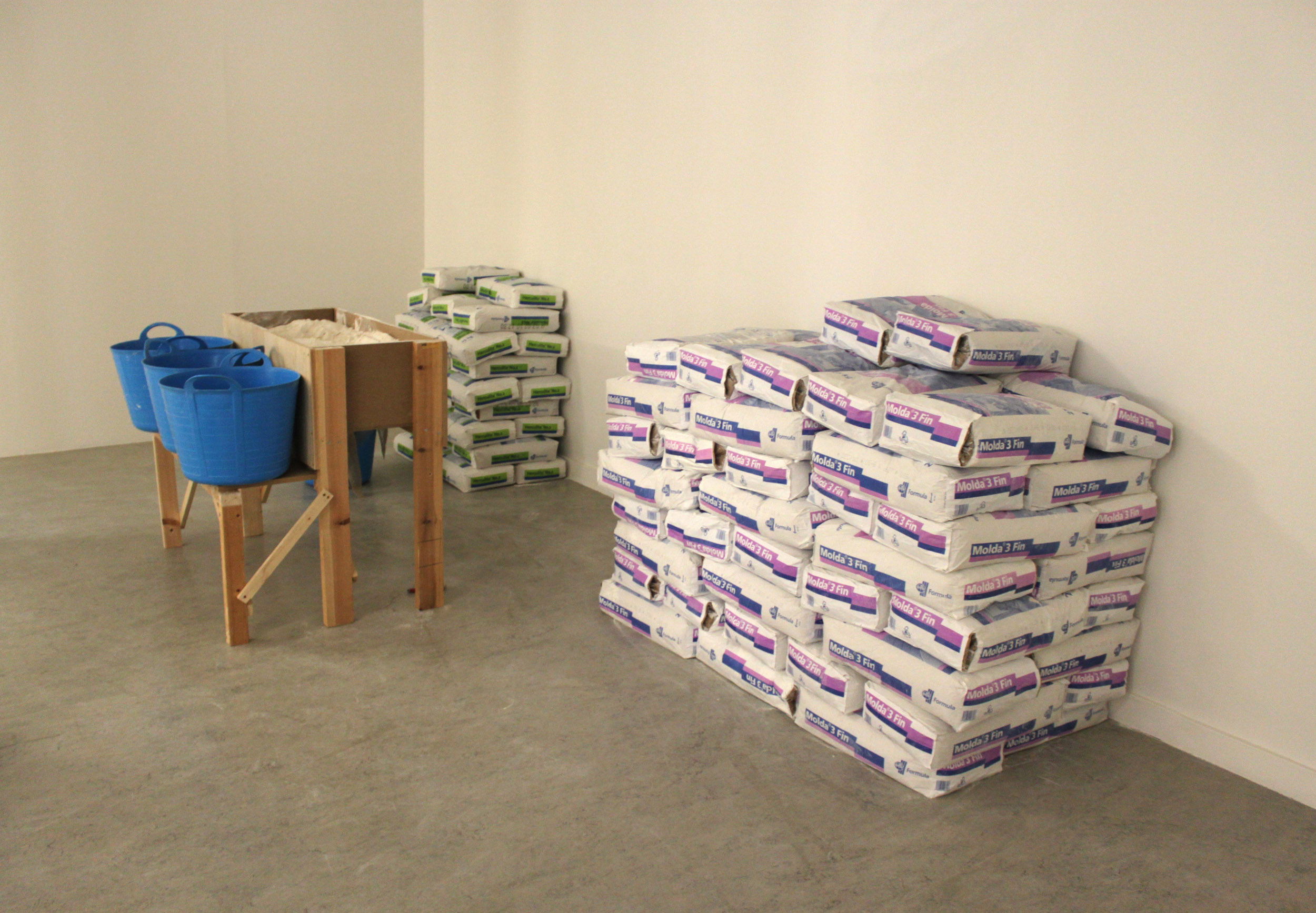 3 tonnes of plaster ready to be mixed by hand in the plaster mixing station
