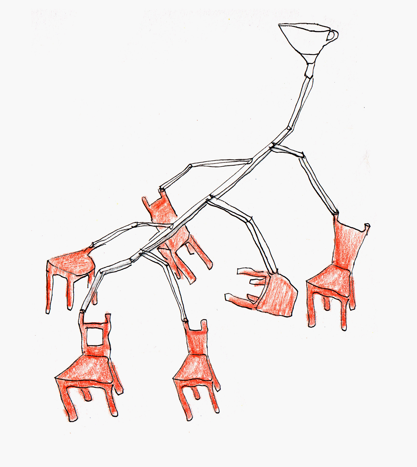 A concept sketch for the Long Drop showing chairs cast of central branch