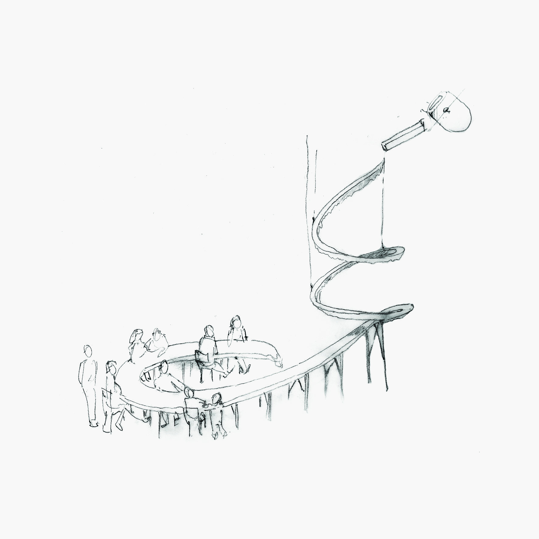 A concept sketch for The Long Drop showing visitors sat around the base of a descending cast table