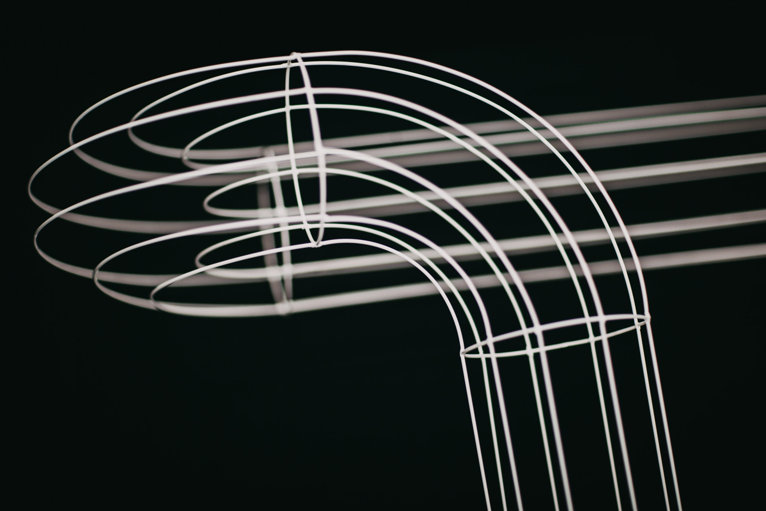 A detail of Luminary wire frame sculpture