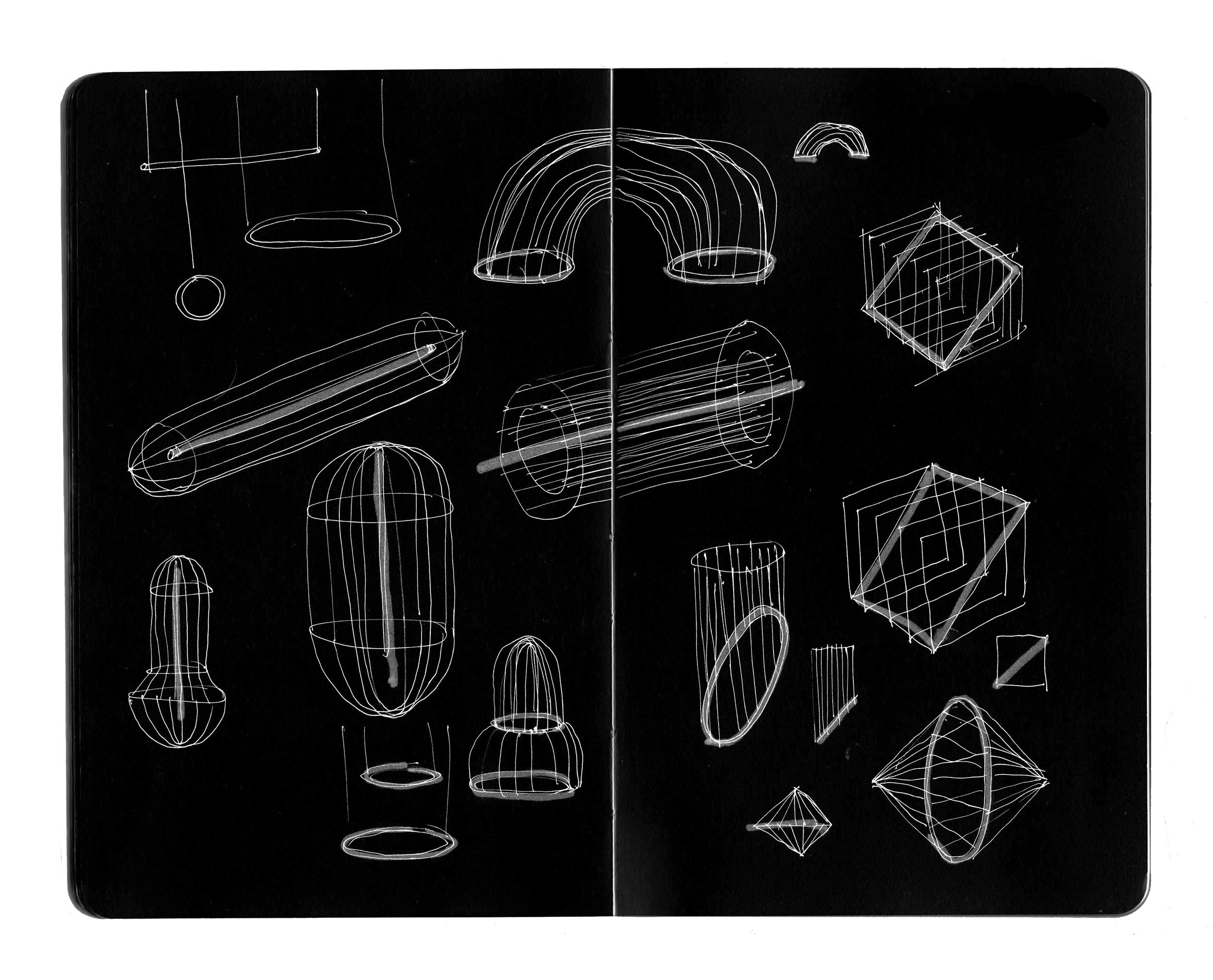 A sketch of Luminaries showing different ideas for wireframe and neon combinations
