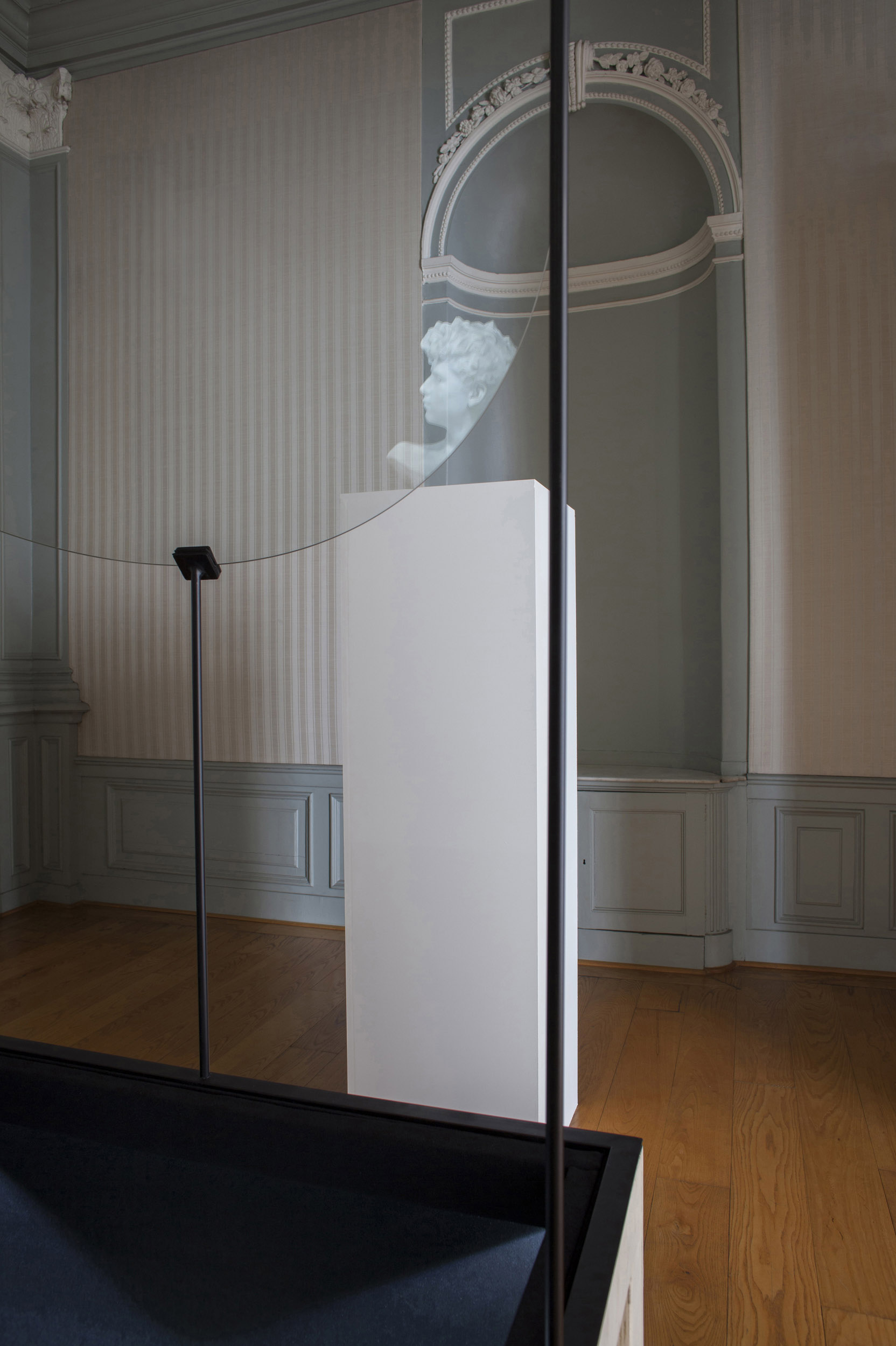 A white marble bust partially reflected in glass pane