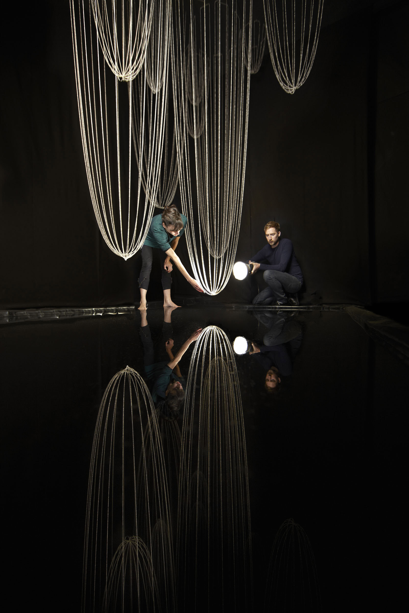 Tim and Sarah photographed testing a full scale mock up of Lost Time