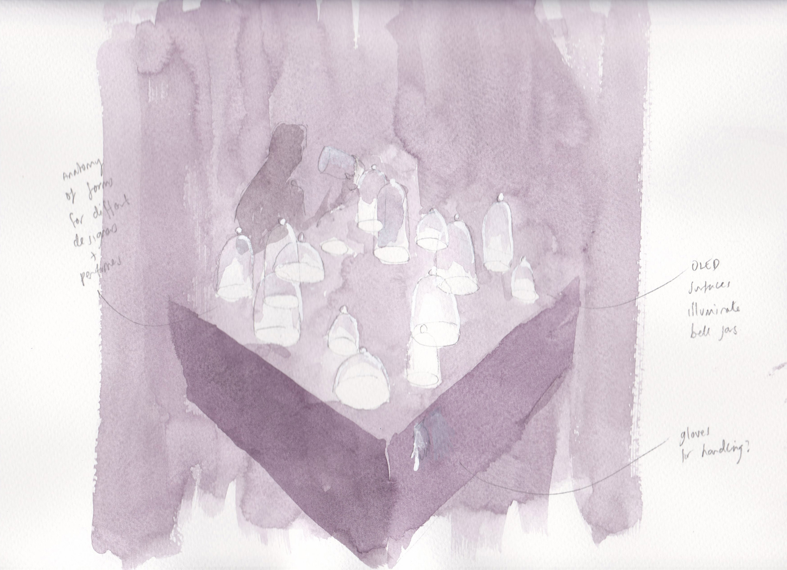 A watercolour sketch of idea for presenting perfumes in the exhibition
