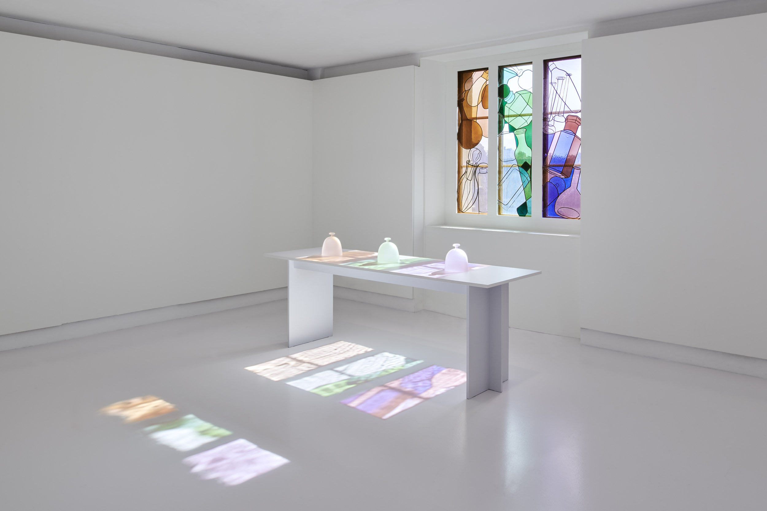 The stained glass window room of the Nez a Nez exhibition