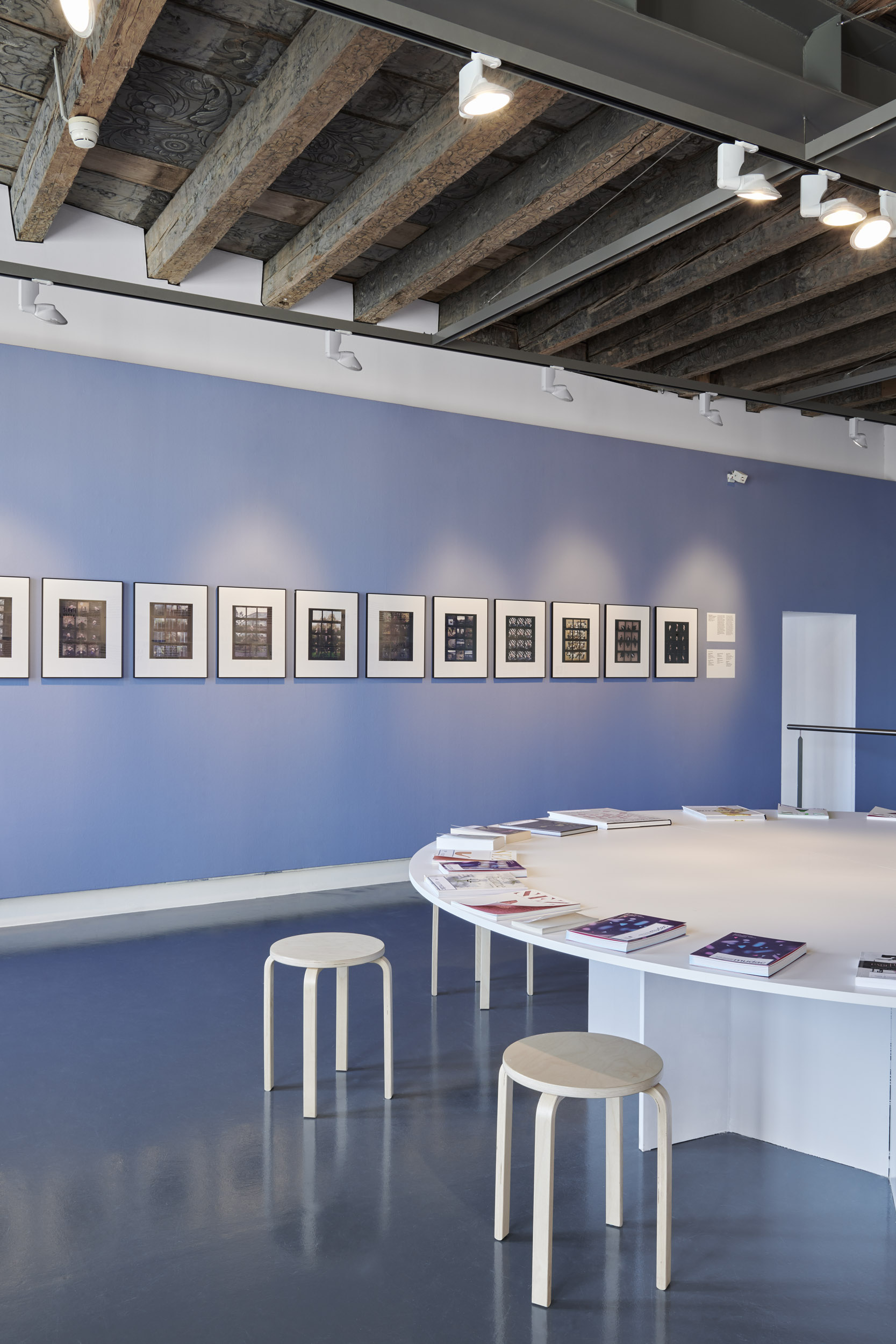 The information room of the Nez a Nez exhibition with portraits of the perfumers