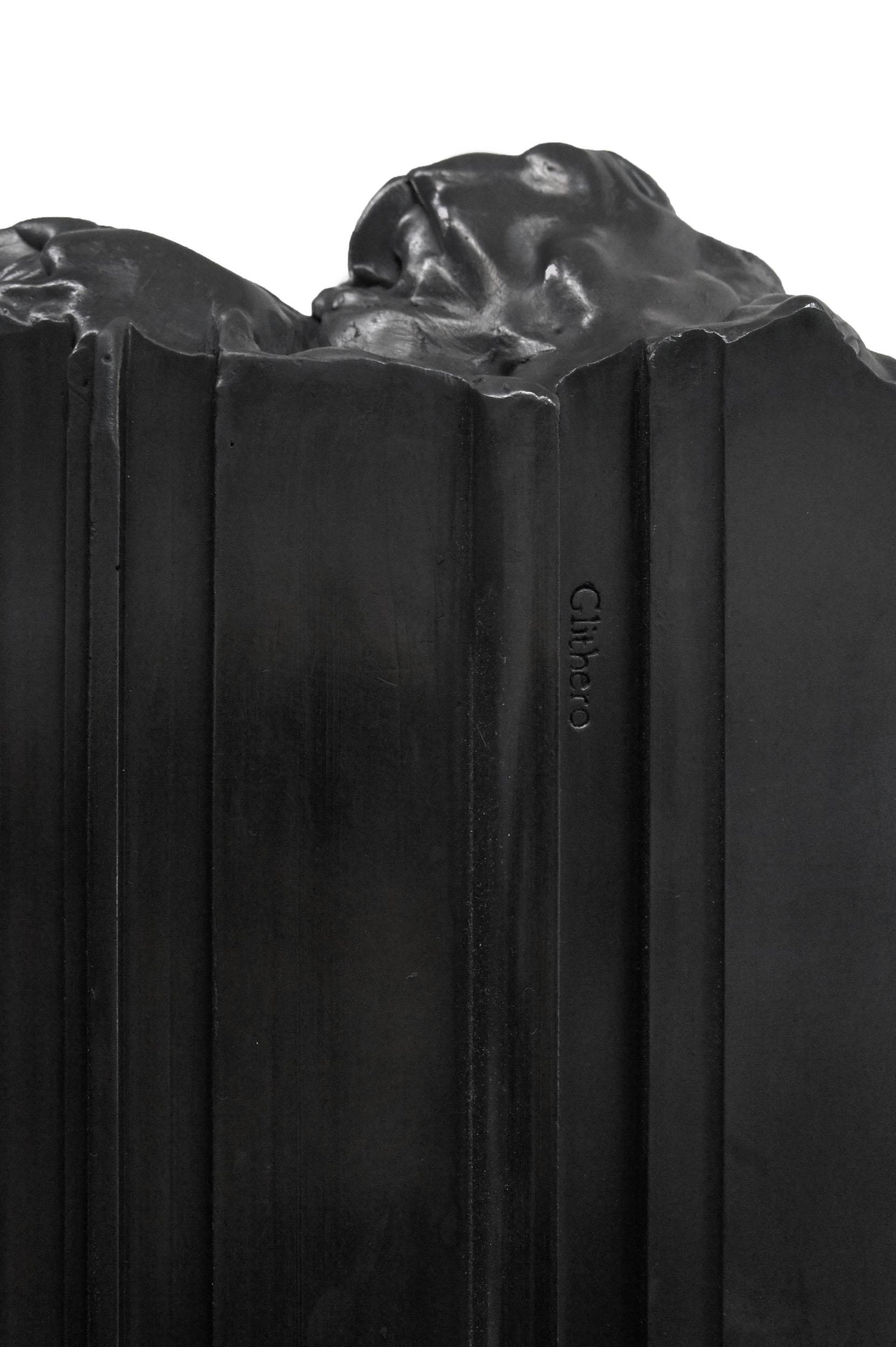 A detail of a black Bench Mould console showing spilt end