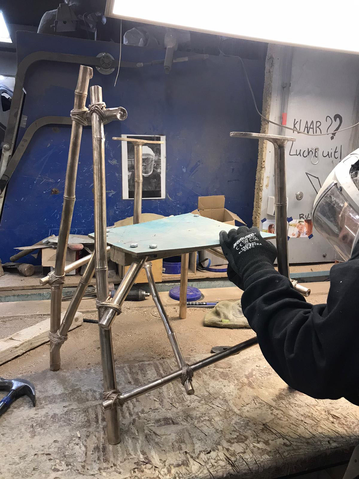 A Les French Chair being assembled at the bronze foundry