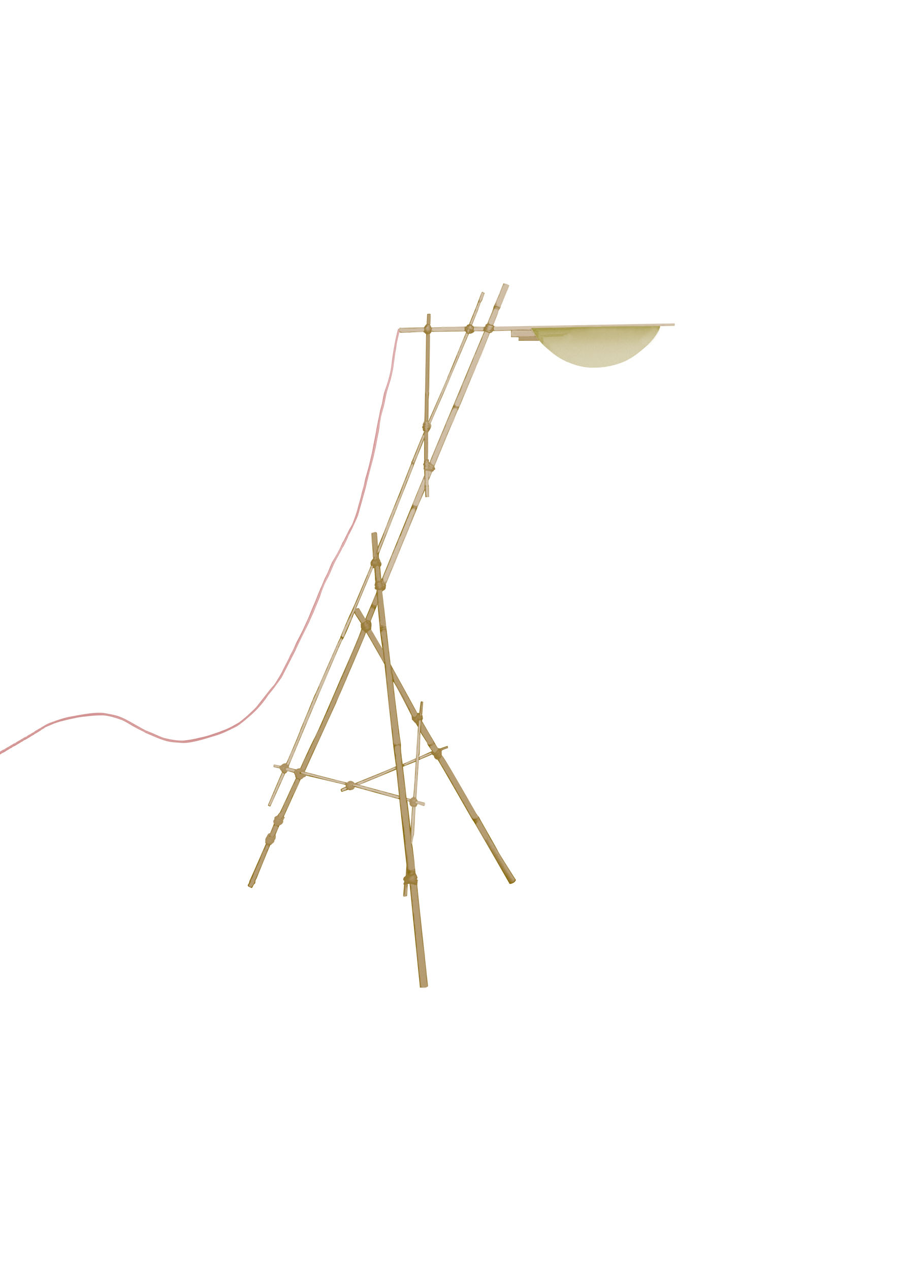 A bamboo mock up of a Les French standing light