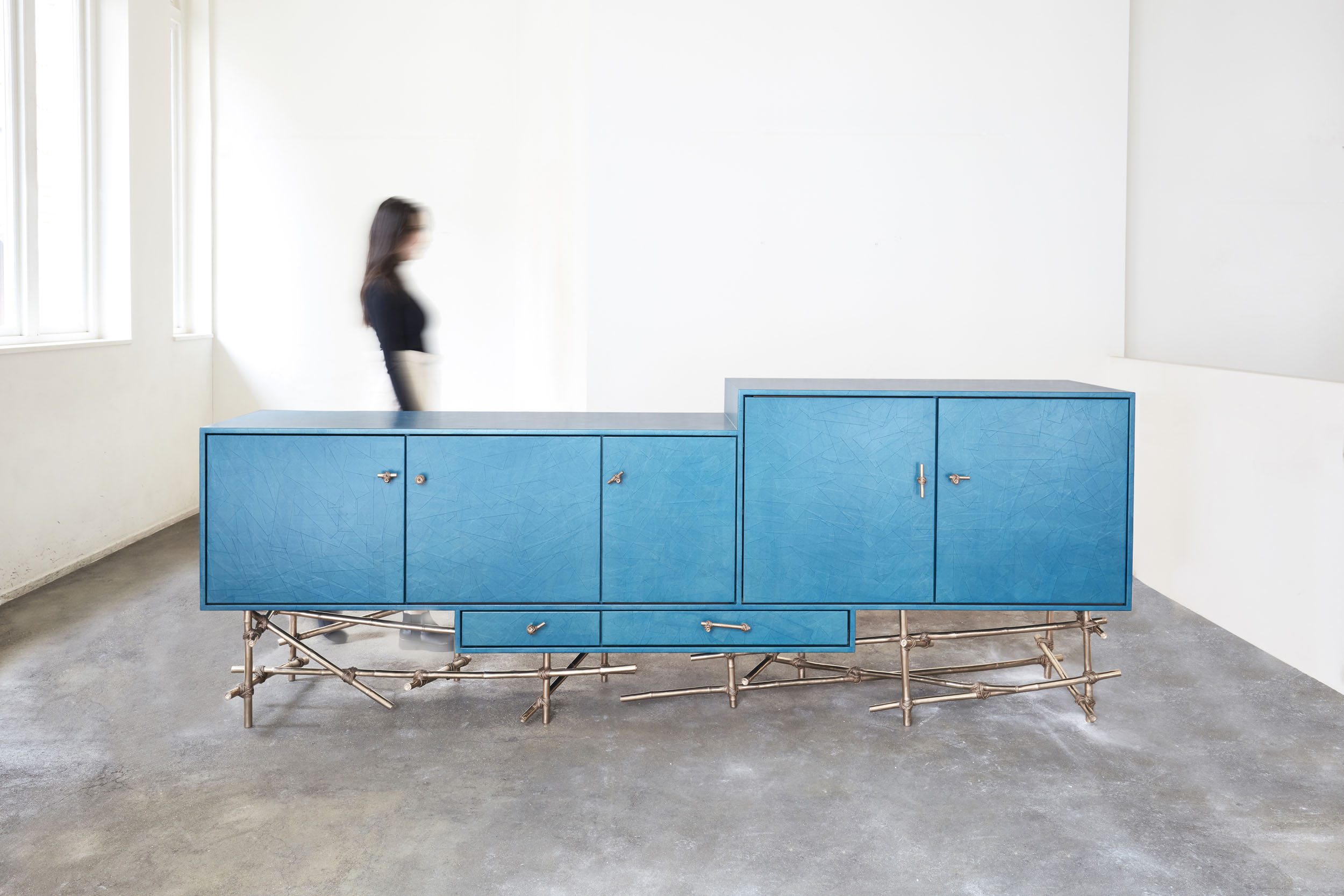 Large turqoise sideboard with bronze cast bamboo frame