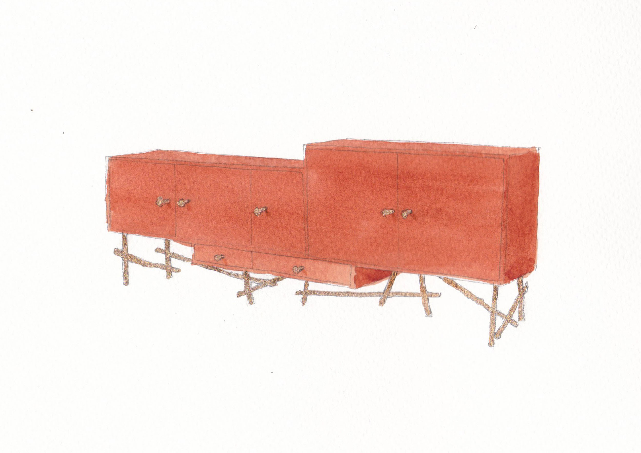 Water colour sketch of Les French sideboard in burnt orange
