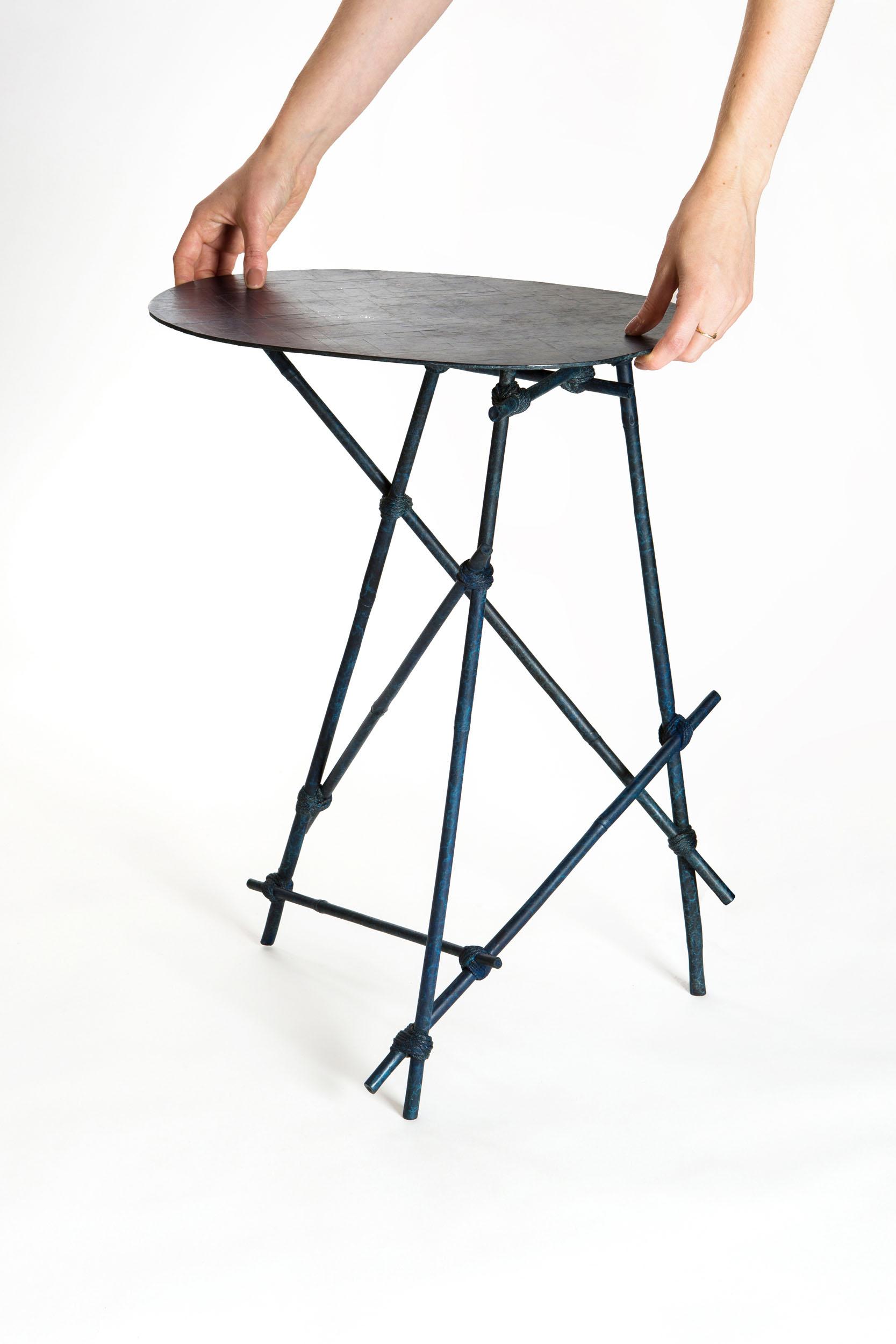 Mise en Place side table in bronze cast frame