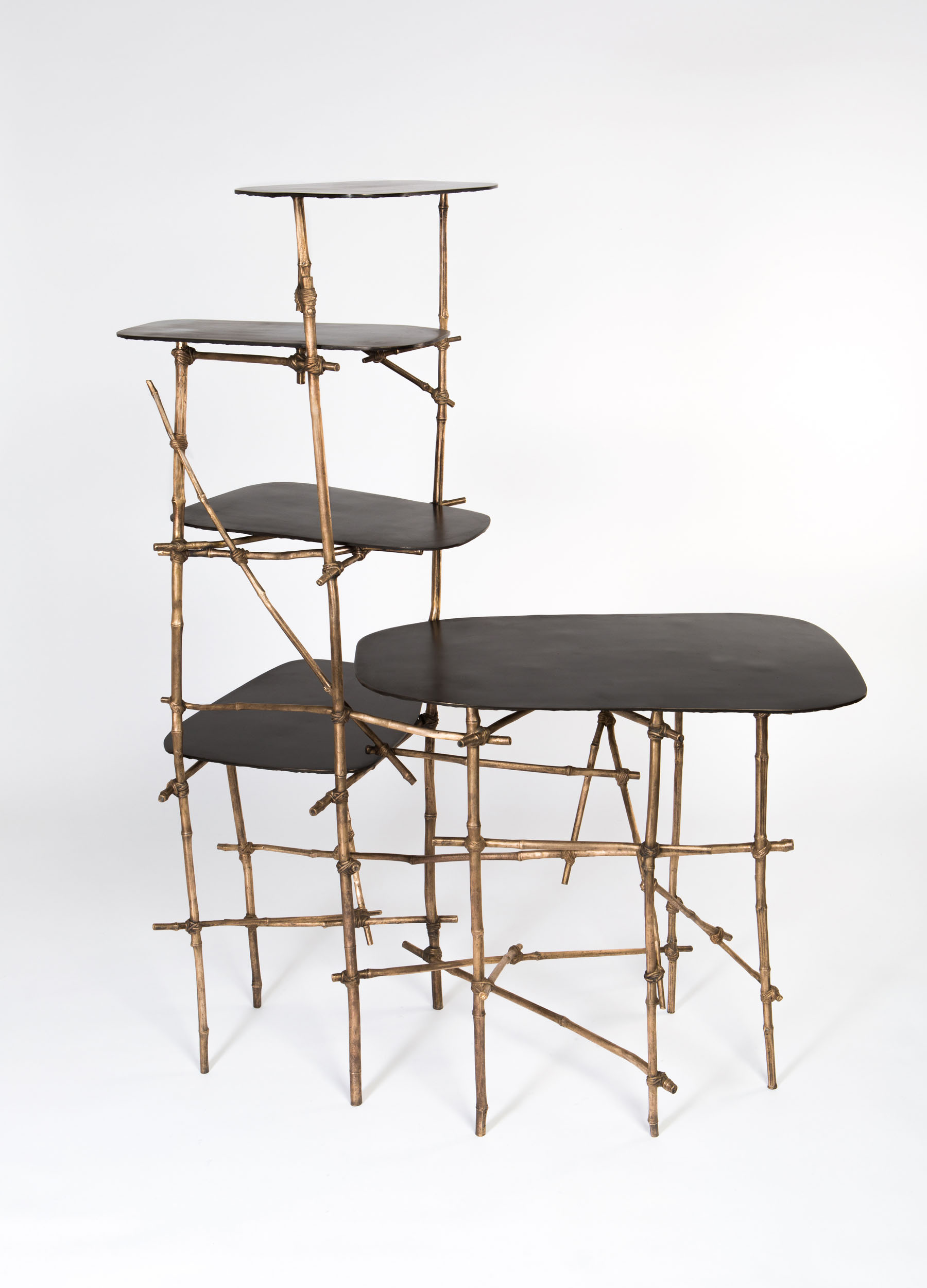 Vis a Vis shelving unit with bronze cast bamboo frame and multiple surfaces