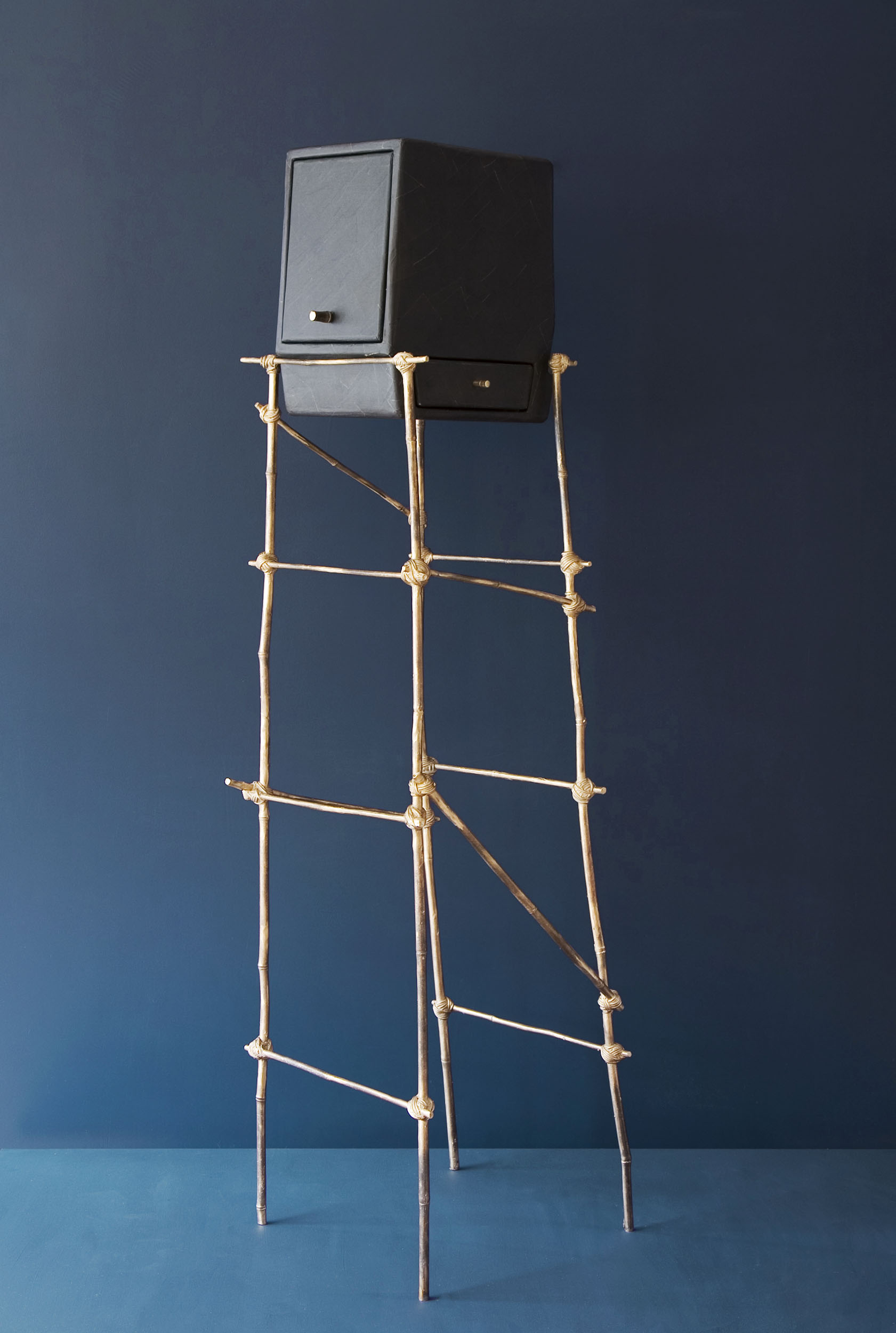 Tete a Tete furniture piece with tall bronze cast bamboo frame and black gum paper cupboard