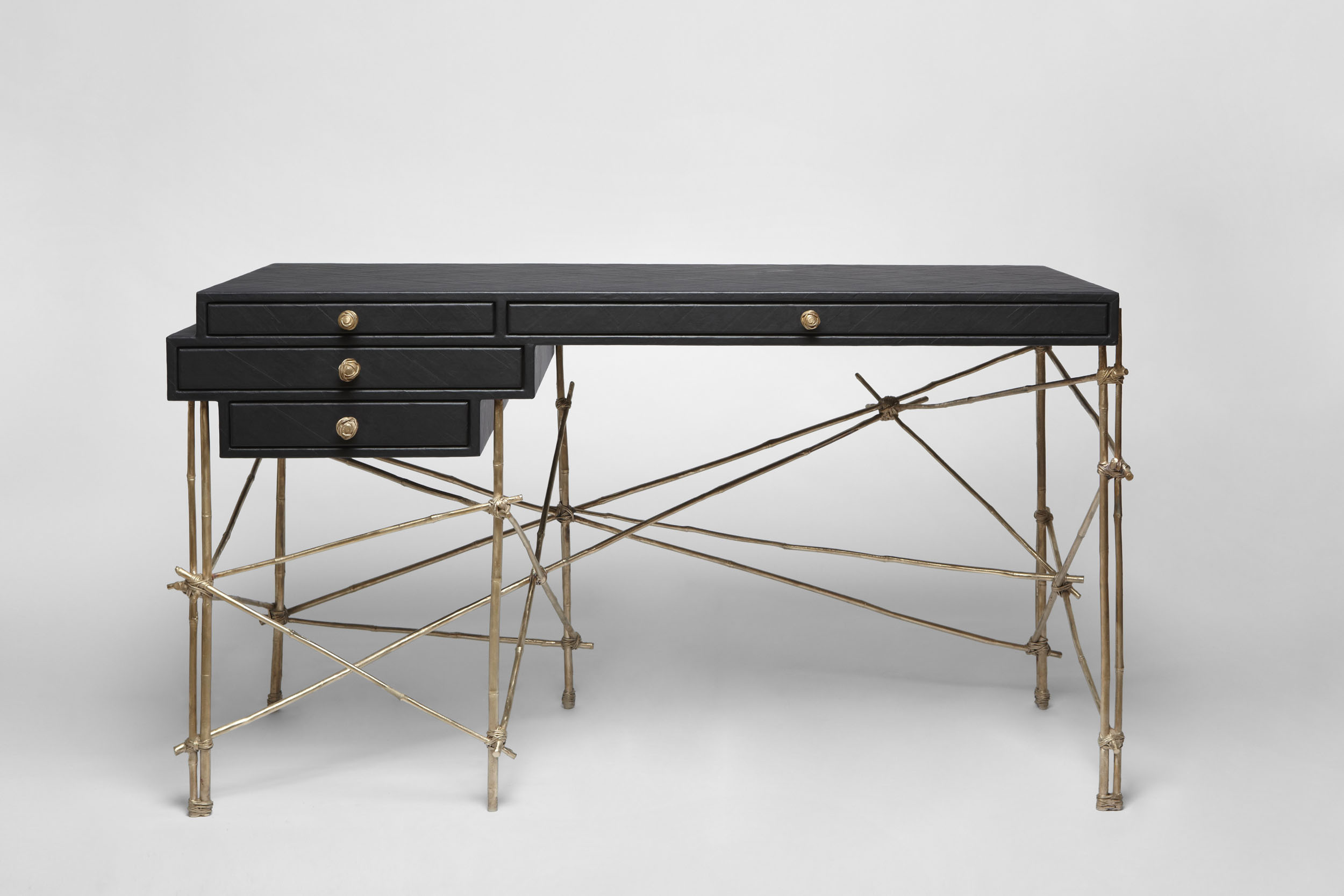 Rendezvous desk bronze cast bamboo frame and black gum paper drawers