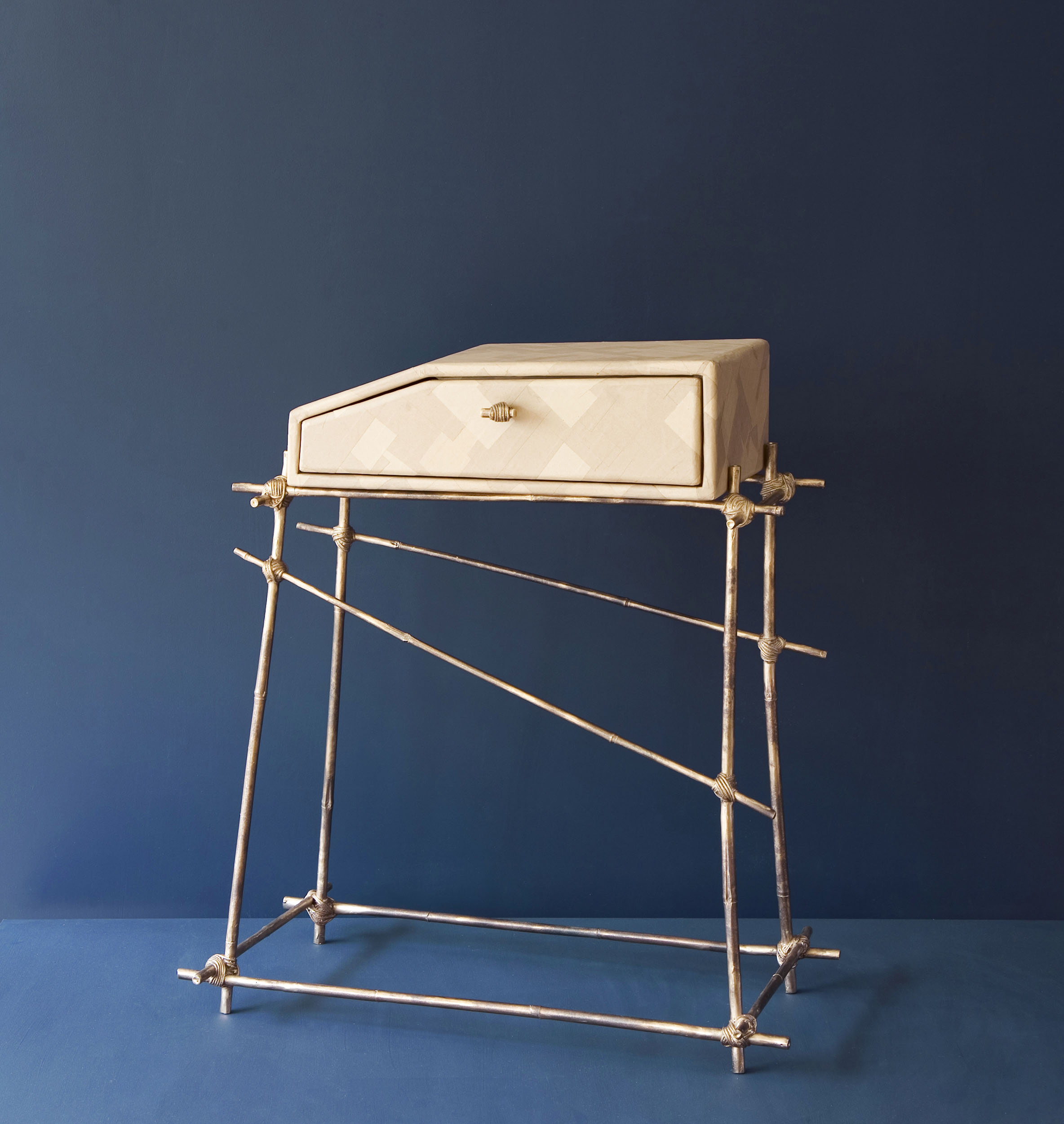 Sacre Bleu drawer unit with bronze cast bamboo frame and gum paper drawer