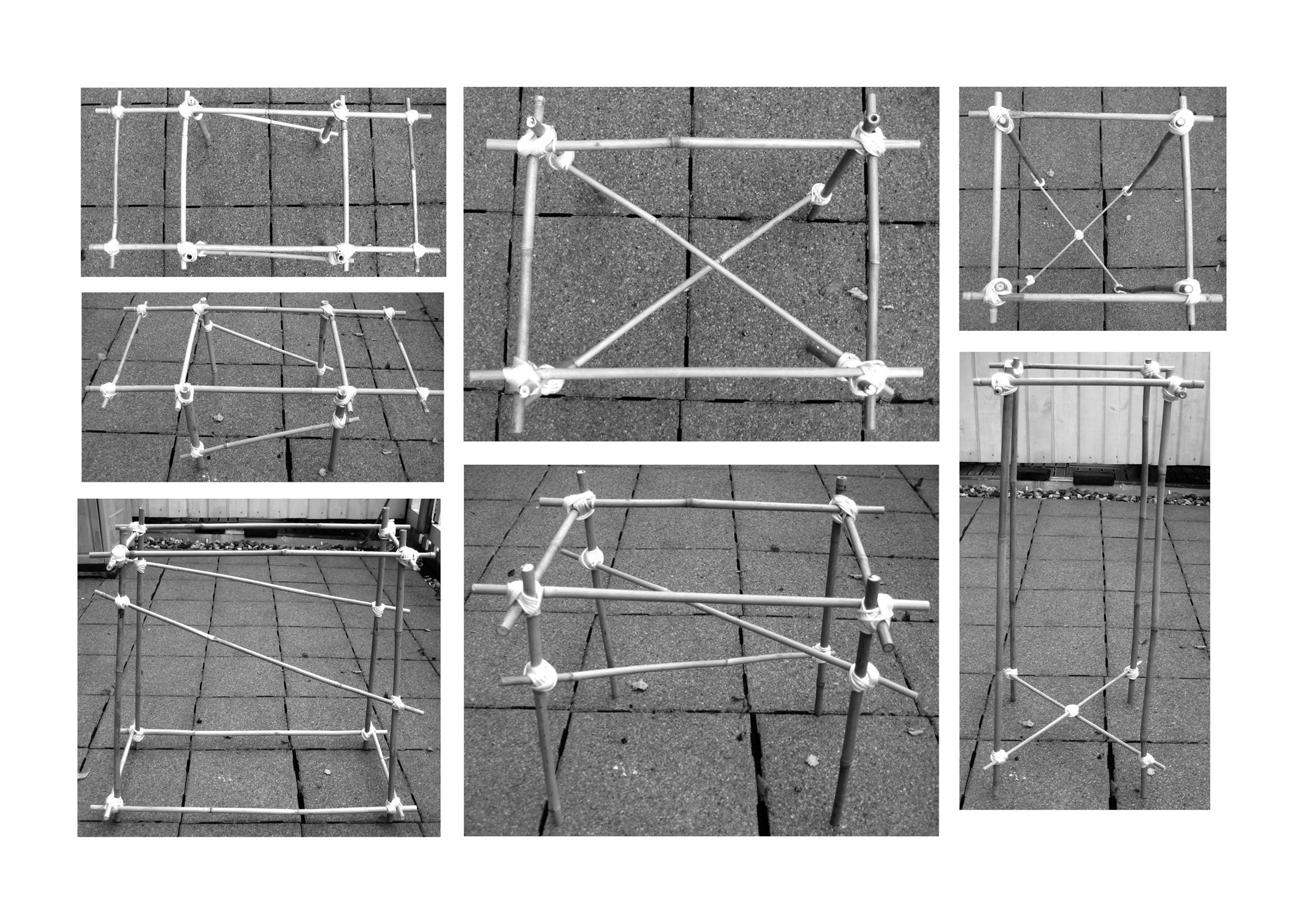 Original strung bamboo frames before casting