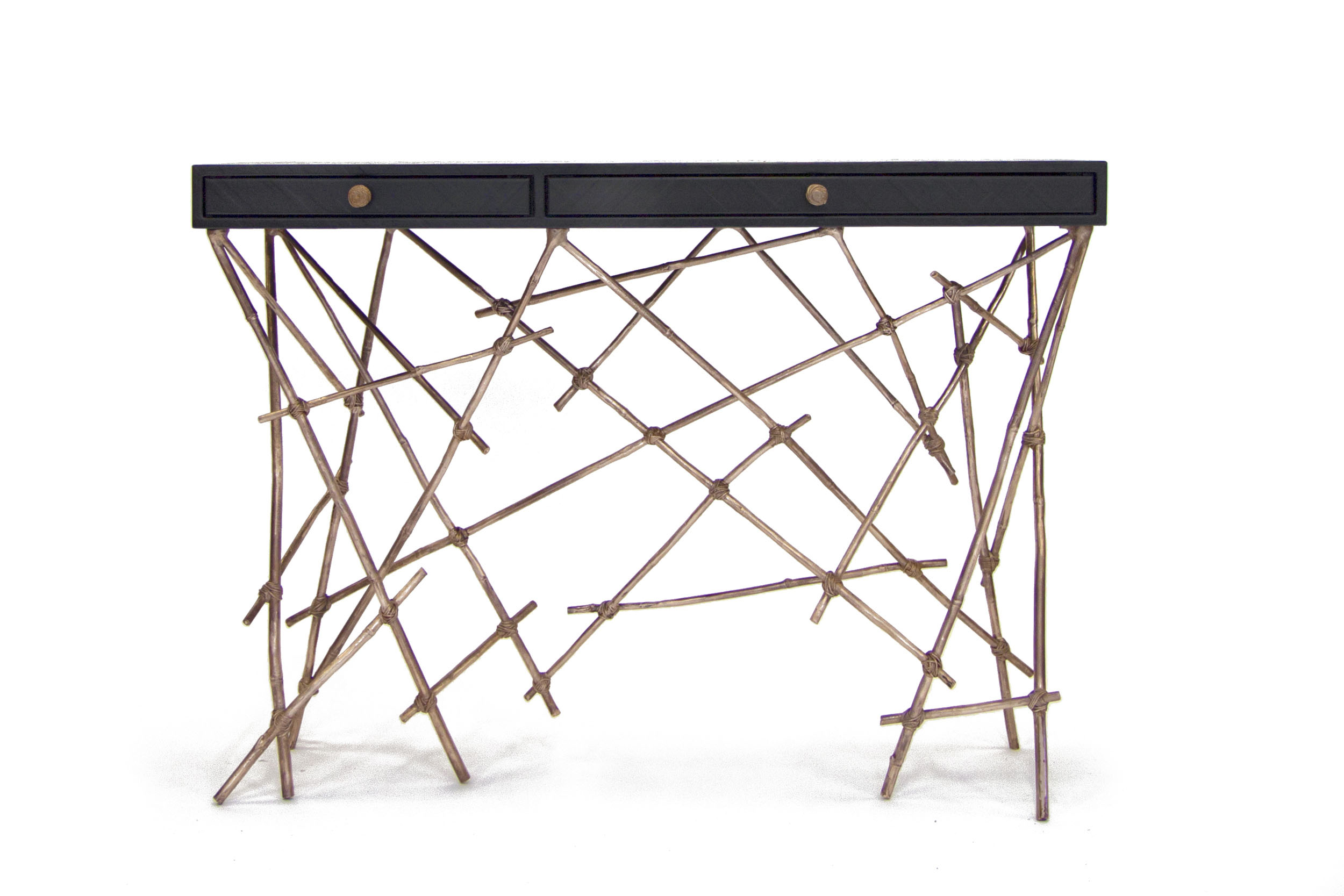 Coup de Grace console with bronzevast bamboo frame and gum paper drawer console