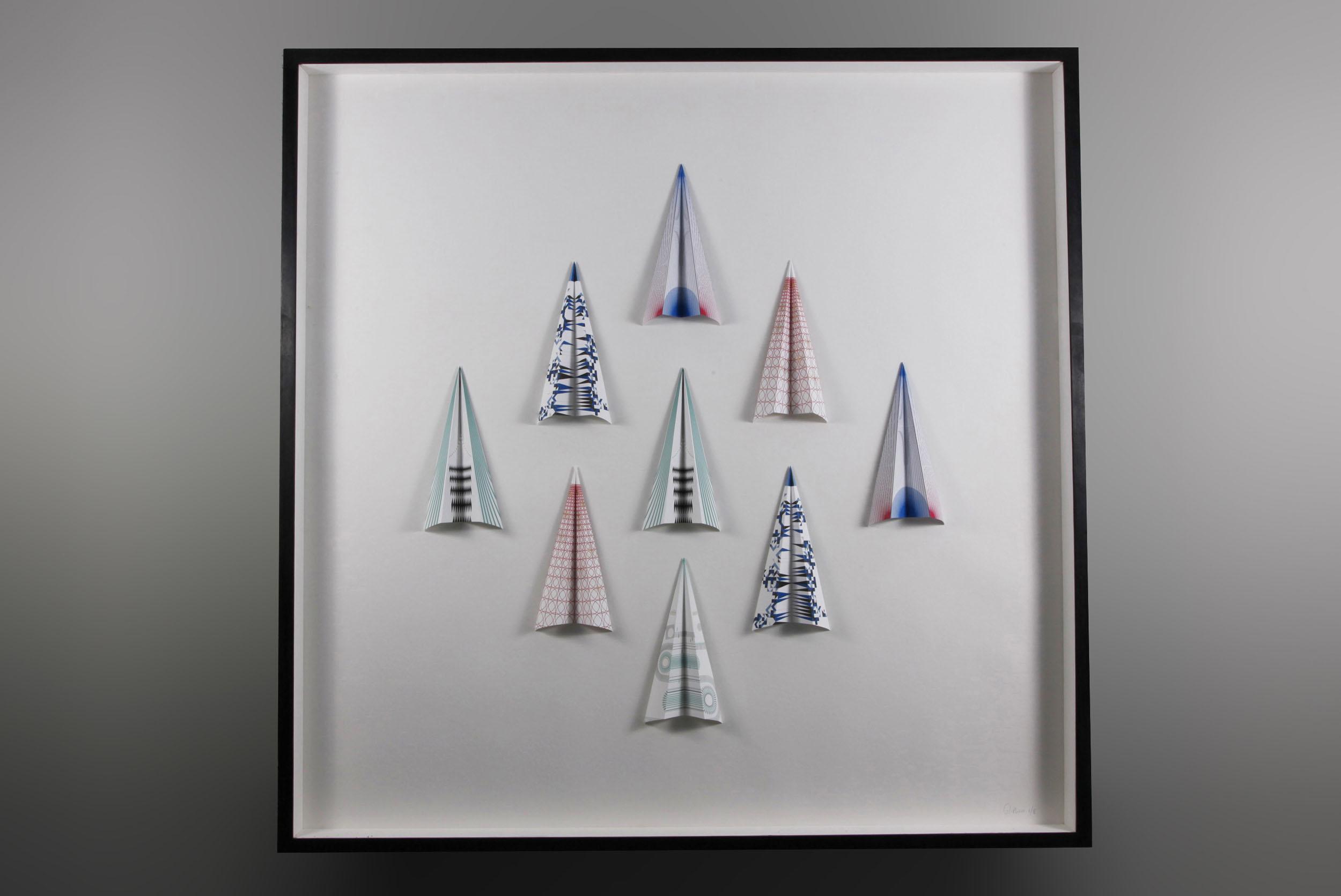 A framed set of Paper Planes in vertical flight formation